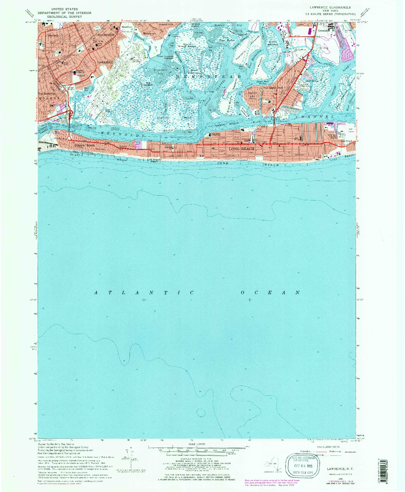 USGS 1:24000-SCALE QUADRANGLE FOR LAWRENCE, NY 1966