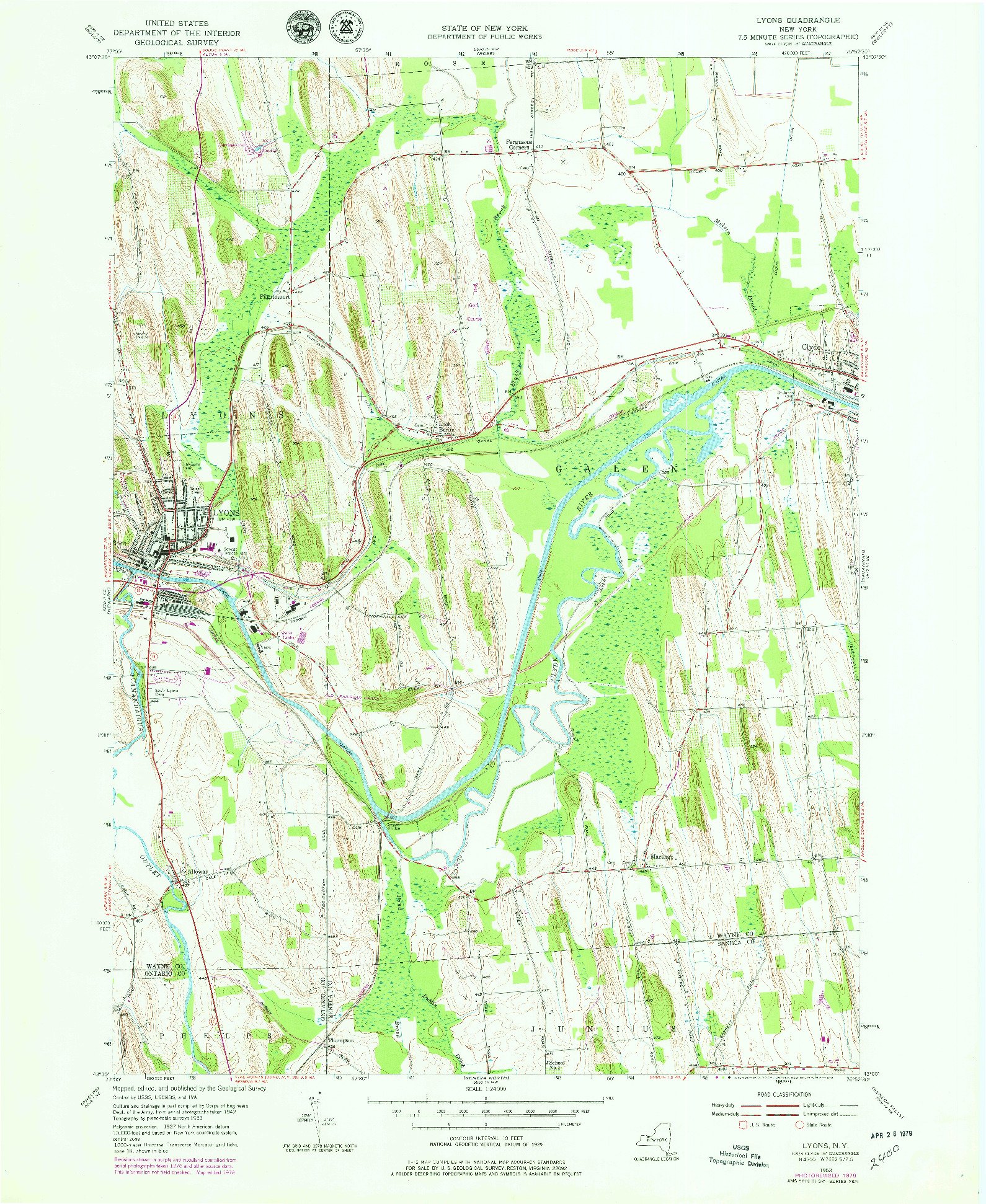 USGS 1:24000-SCALE QUADRANGLE FOR LYONS, NY 1953