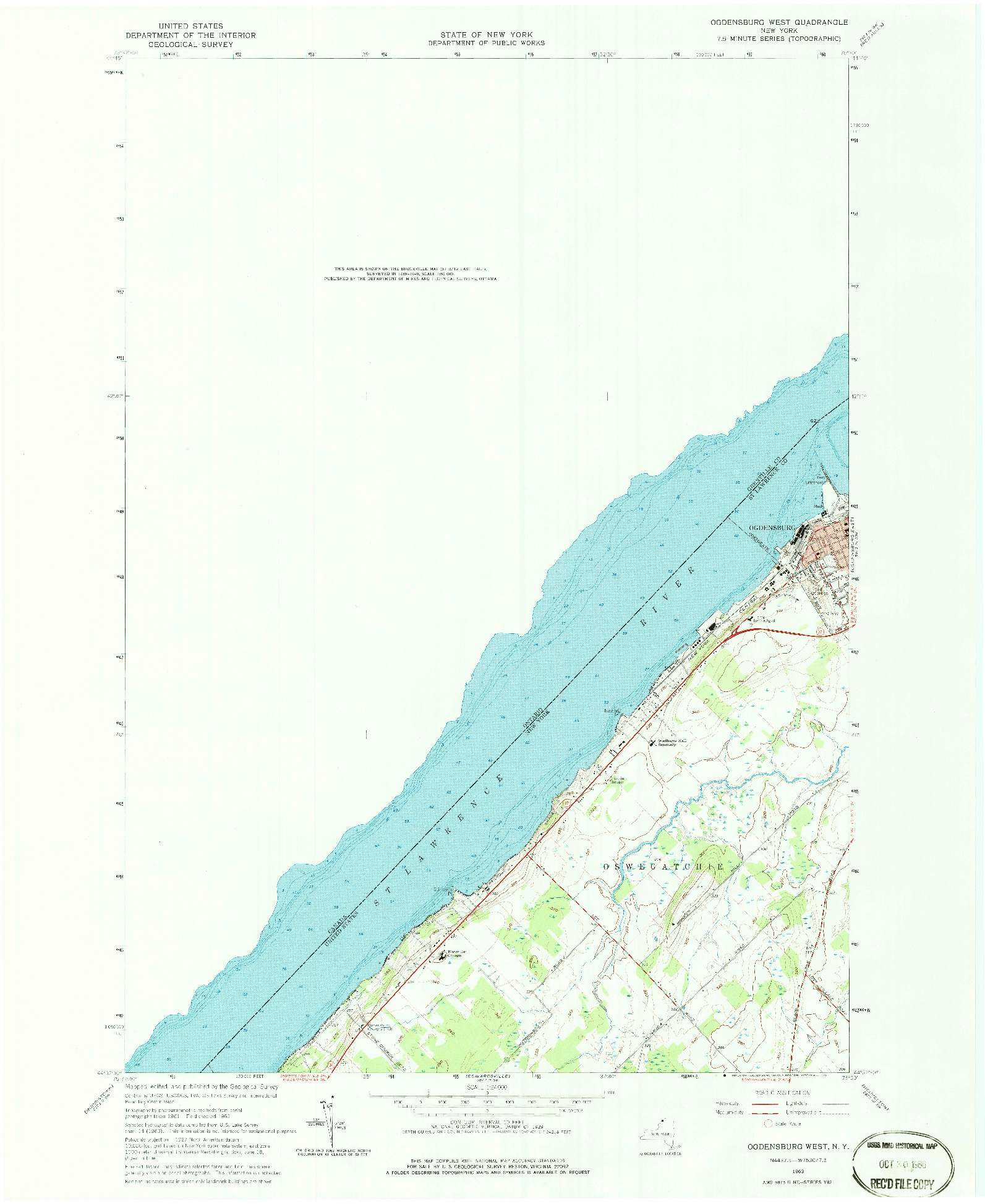 USGS 1:24000-SCALE QUADRANGLE FOR OGDENSBURG WEST, NY 1963