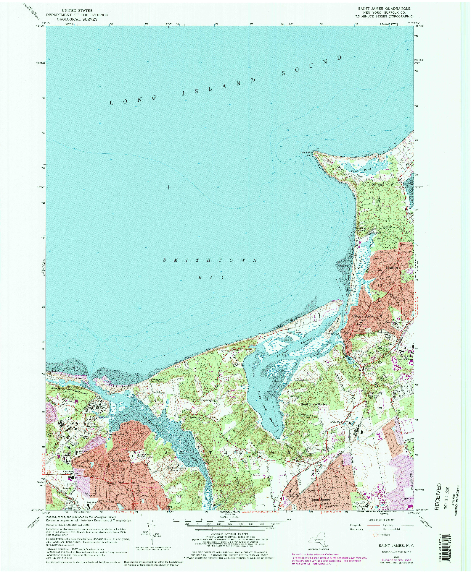 USGS 1:24000-SCALE QUADRANGLE FOR SAINT JAMES, NY 1967