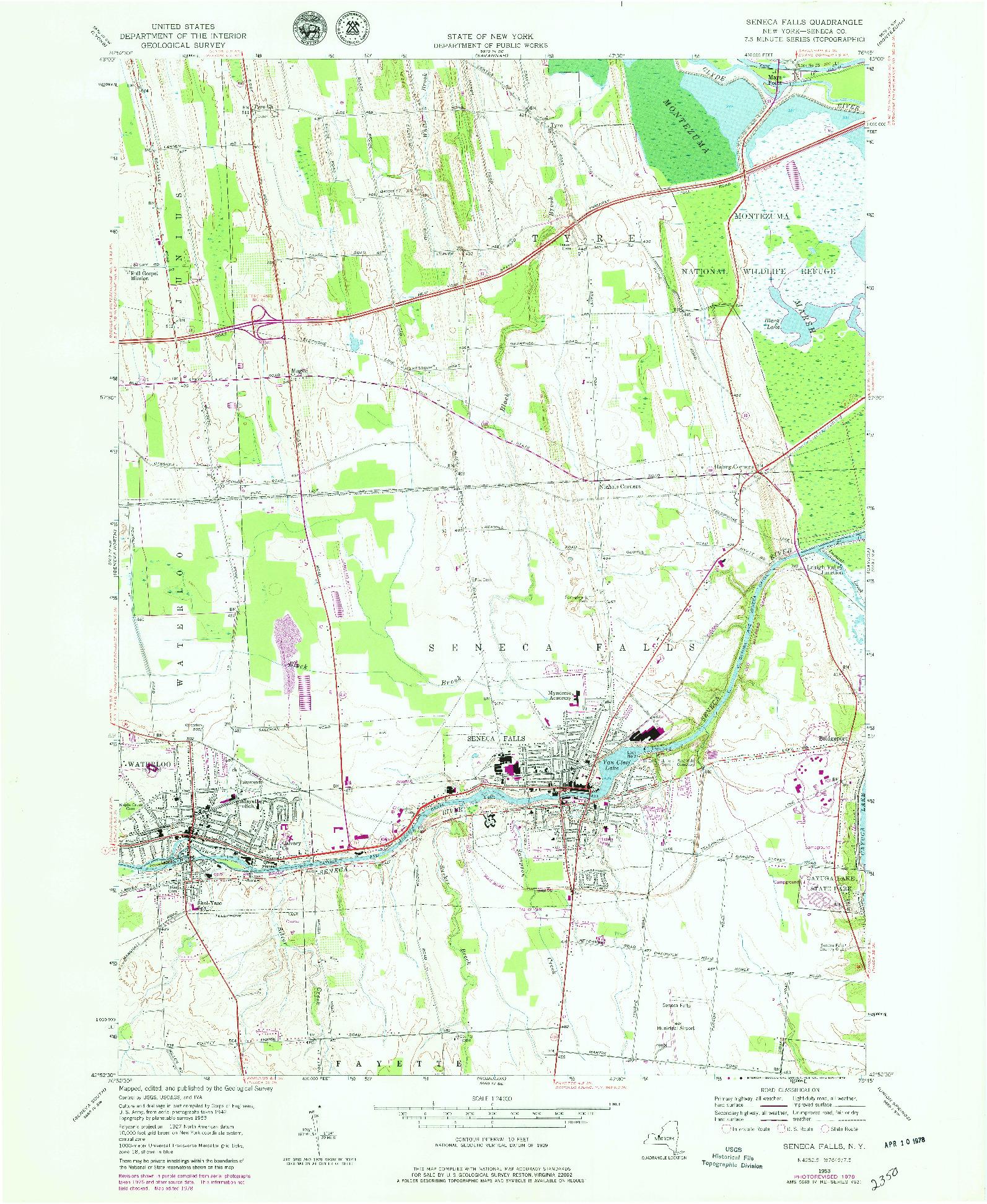 USGS 1:24000-SCALE QUADRANGLE FOR SENECA FALLS, NY 1953