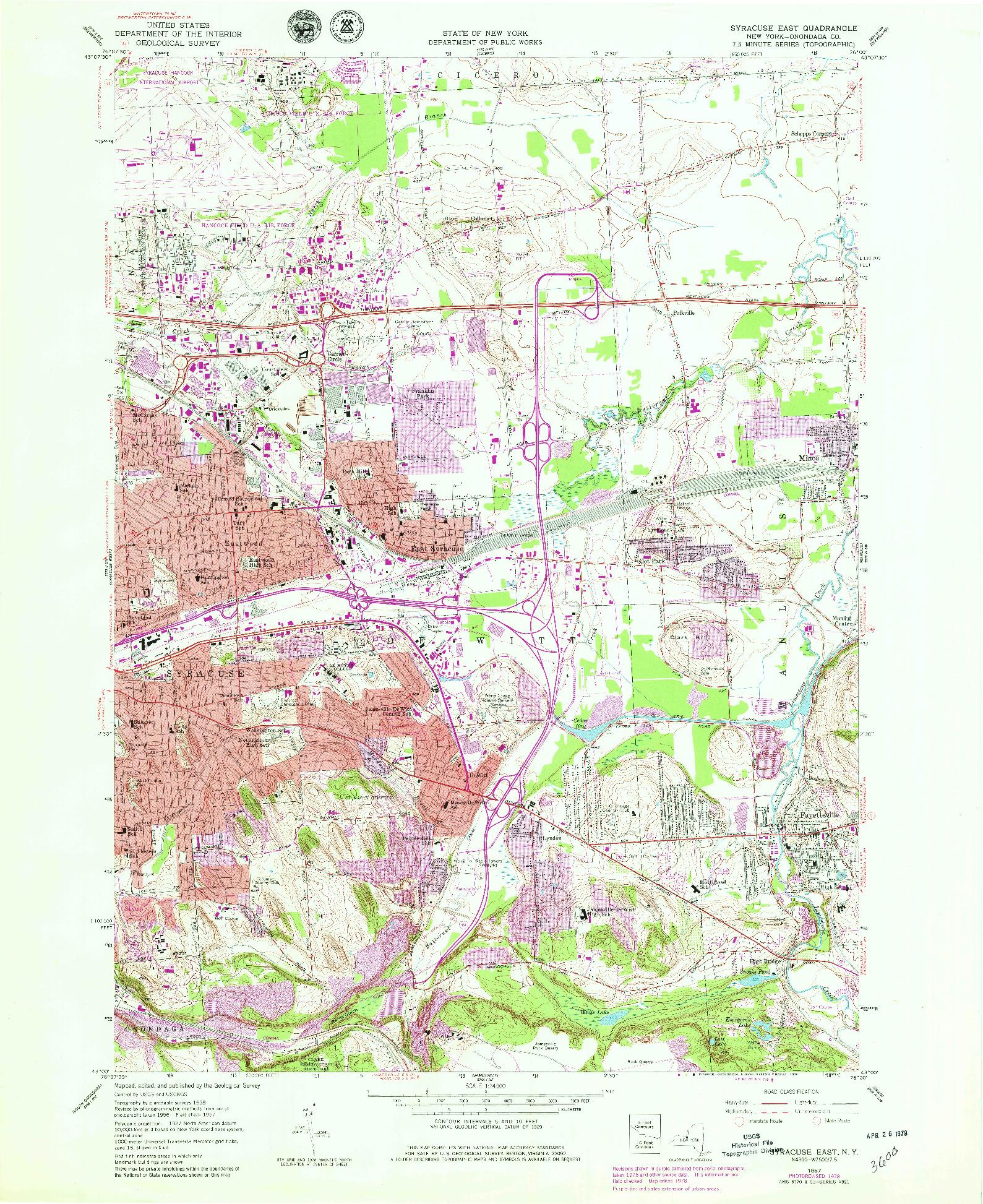 USGS 1:24000-SCALE QUADRANGLE FOR SYRACUSE EAST, NY 1957
