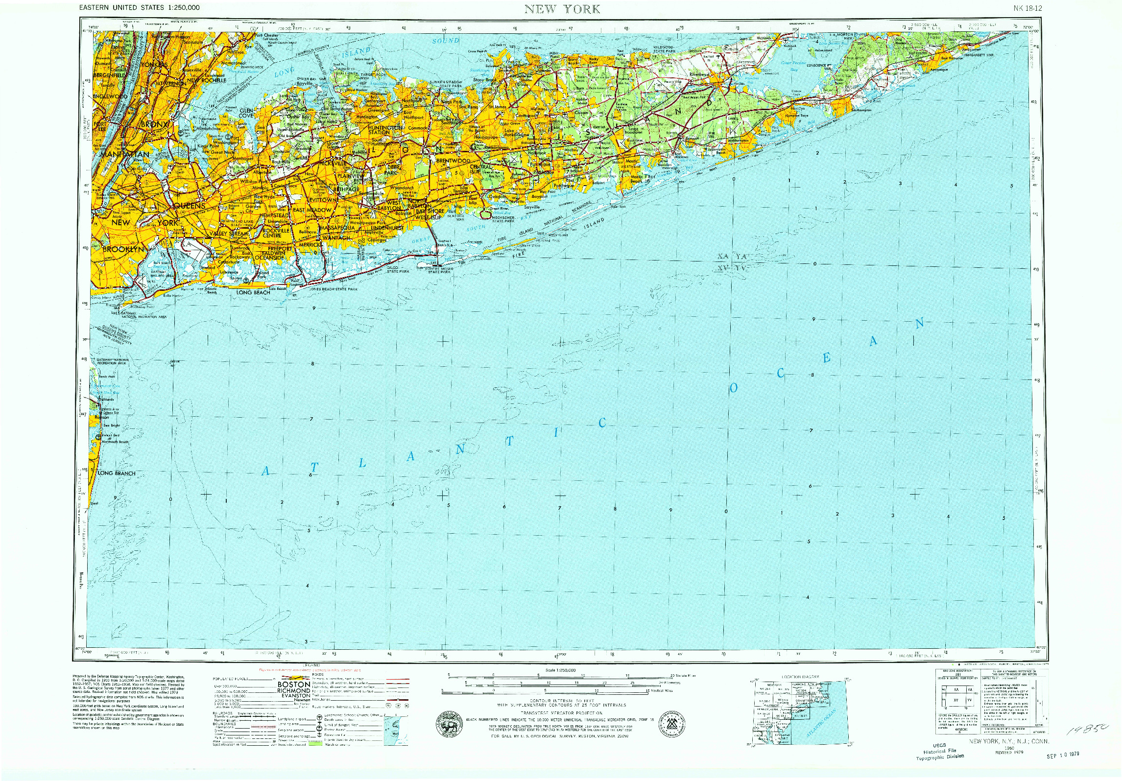 USGS 1:250000-SCALE QUADRANGLE FOR NEW YORK, NY 1960