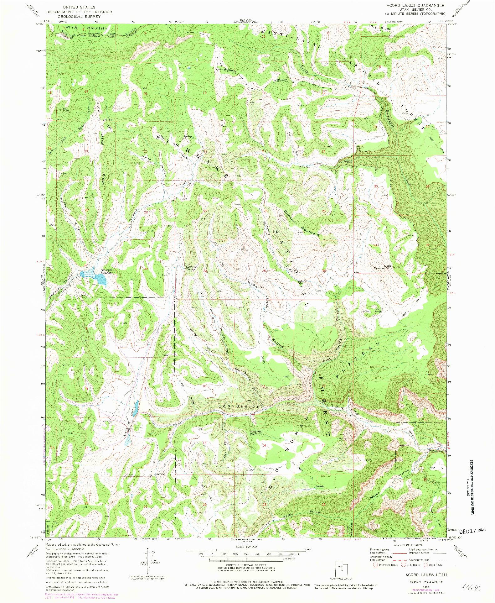USGS 1:24000-SCALE QUADRANGLE FOR ACORD LAKES, UT 1968