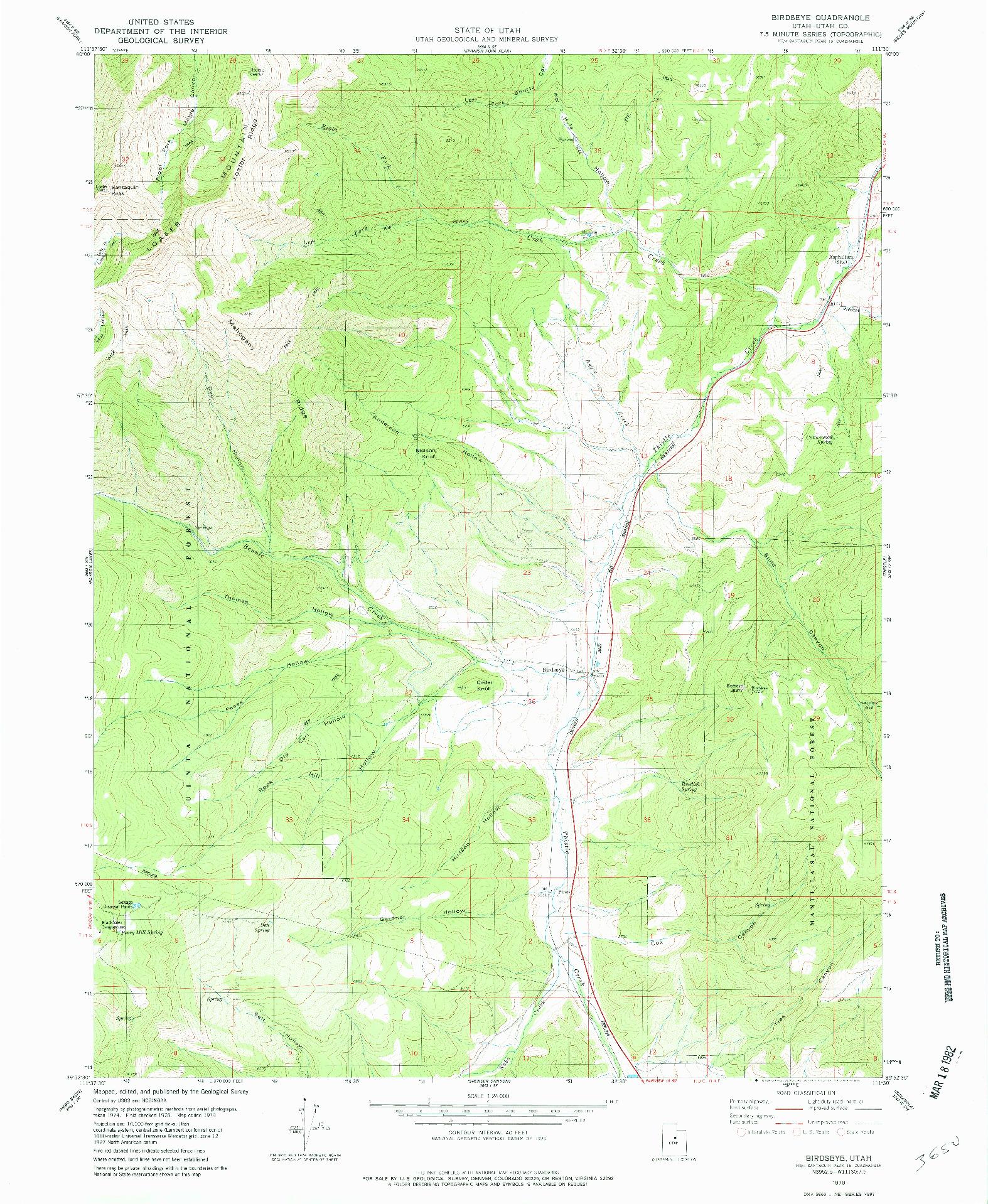 USGS 1:24000-SCALE QUADRANGLE FOR BIRDSEYE, UT 1979