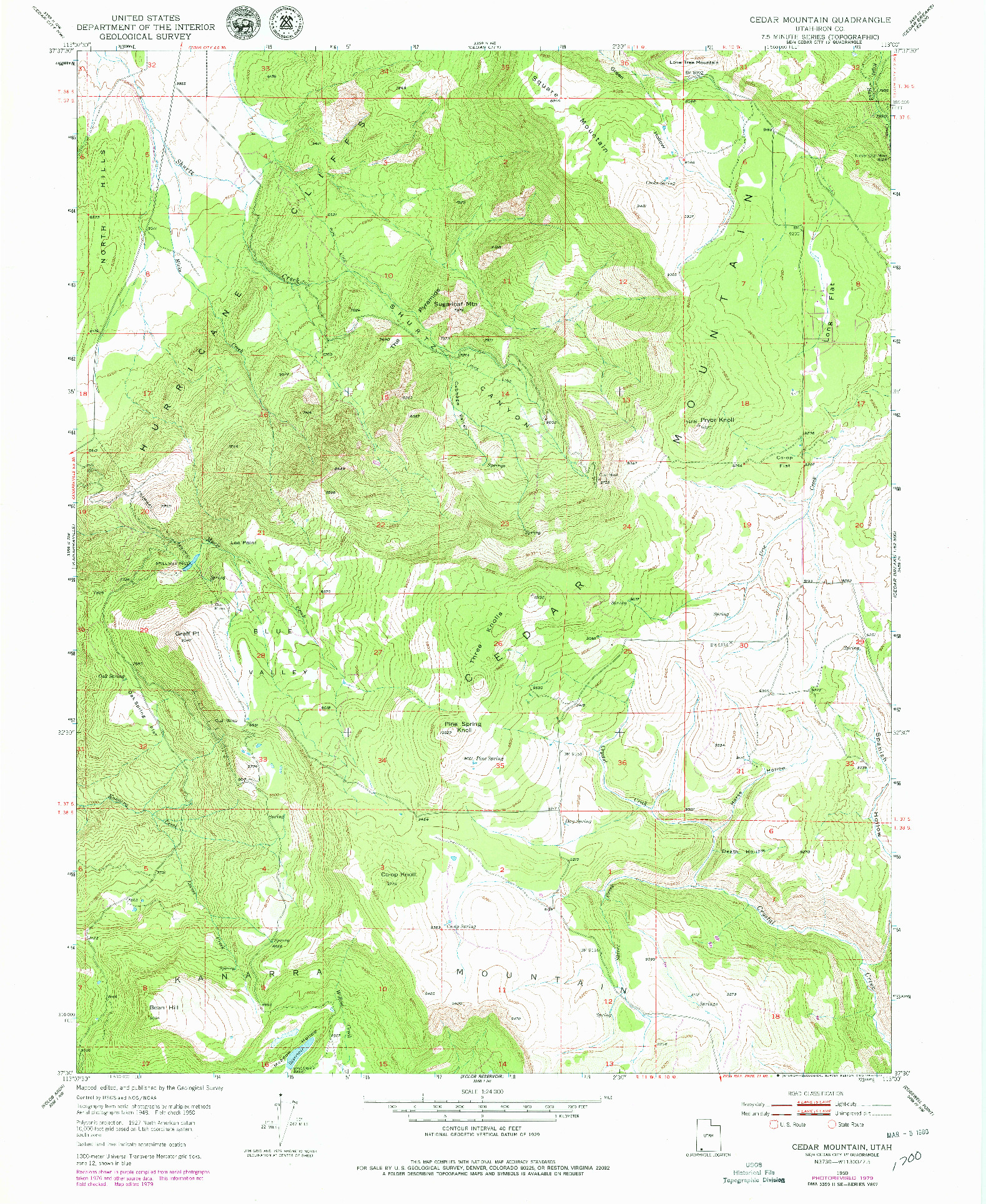 USGS 1:24000-SCALE QUADRANGLE FOR CEDAR MOUNTAIN, UT 1950