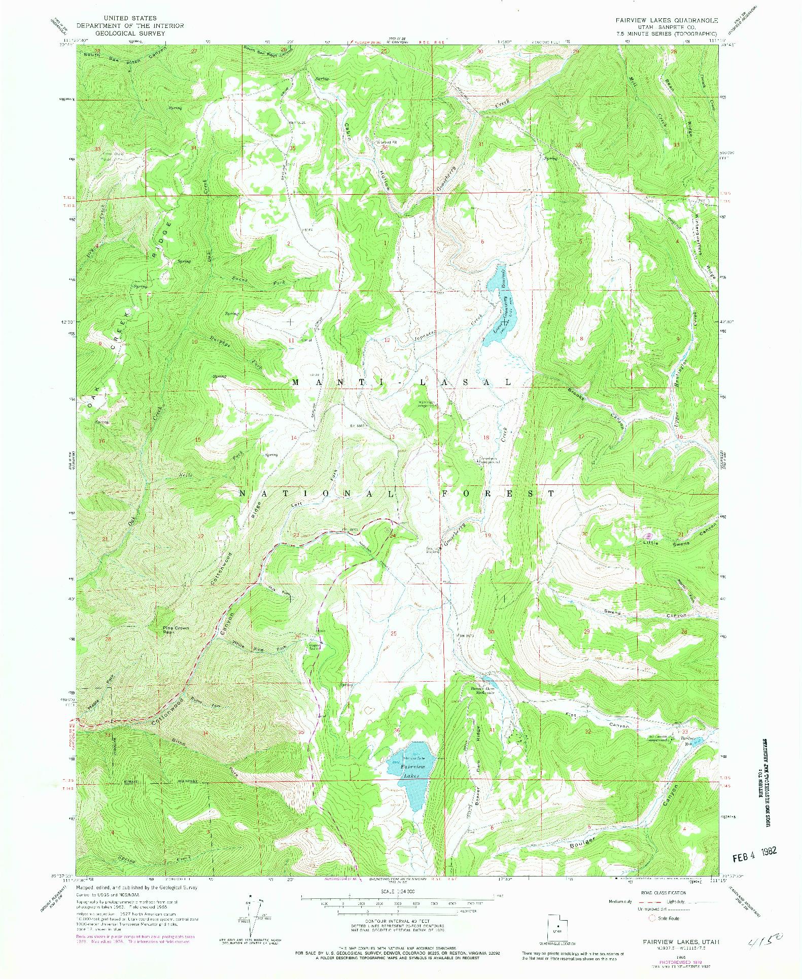 USGS 1:24000-SCALE QUADRANGLE FOR FAIRVIEW LAKES, UT 1965