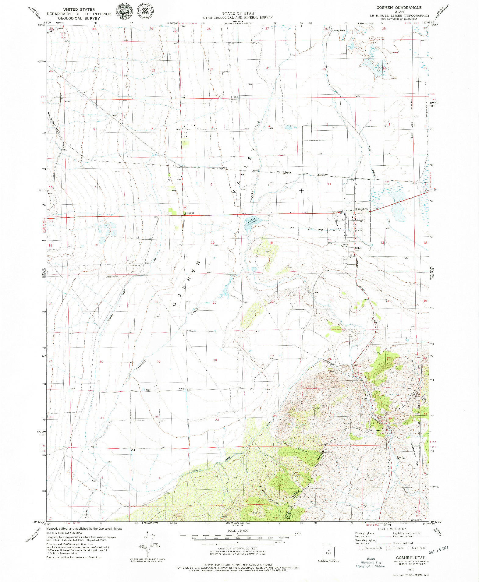 USGS 1:24000-SCALE QUADRANGLE FOR GOSHEN, UT 1979