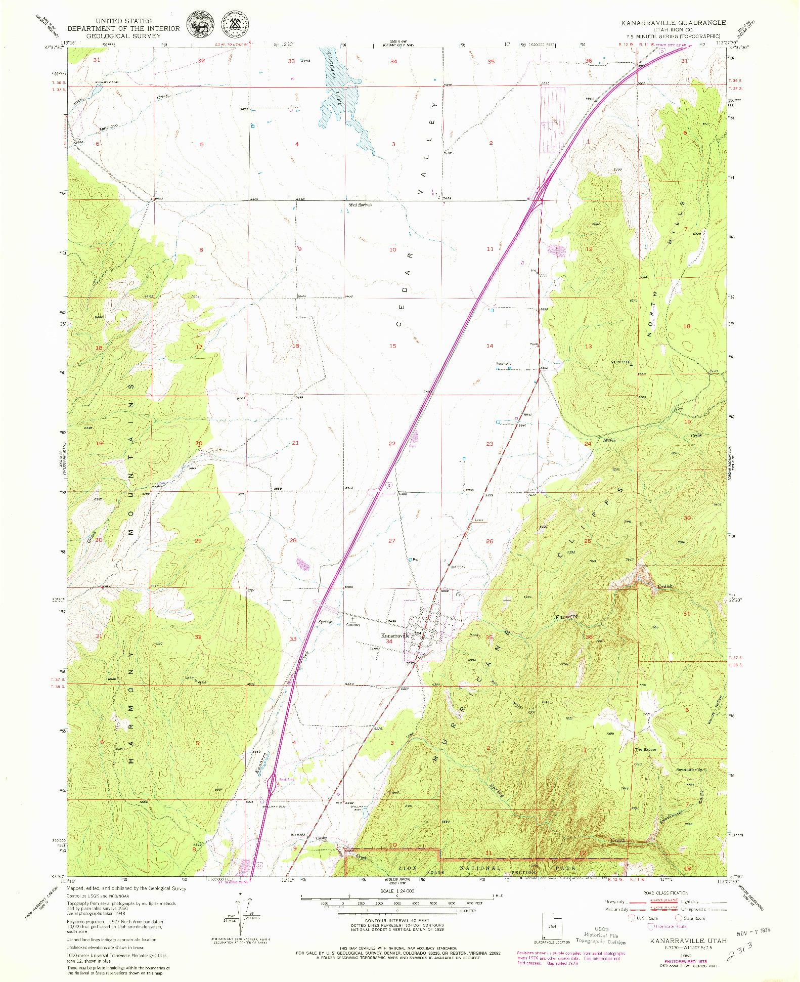 USGS 1:24000-SCALE QUADRANGLE FOR KANARRAVILLE, UT 1950