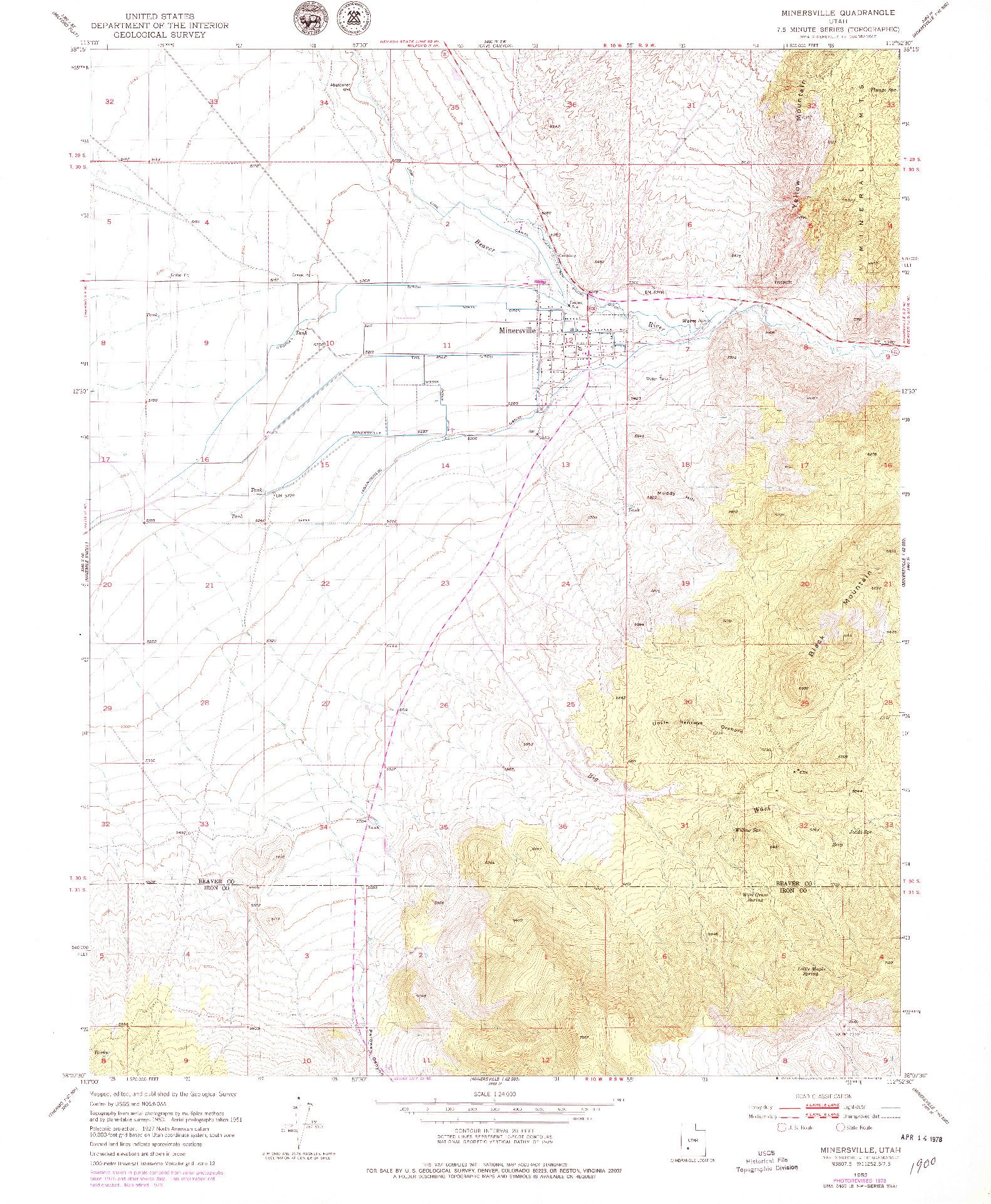 USGS 1:24000-SCALE QUADRANGLE FOR MINERSVILLE, UT 1953