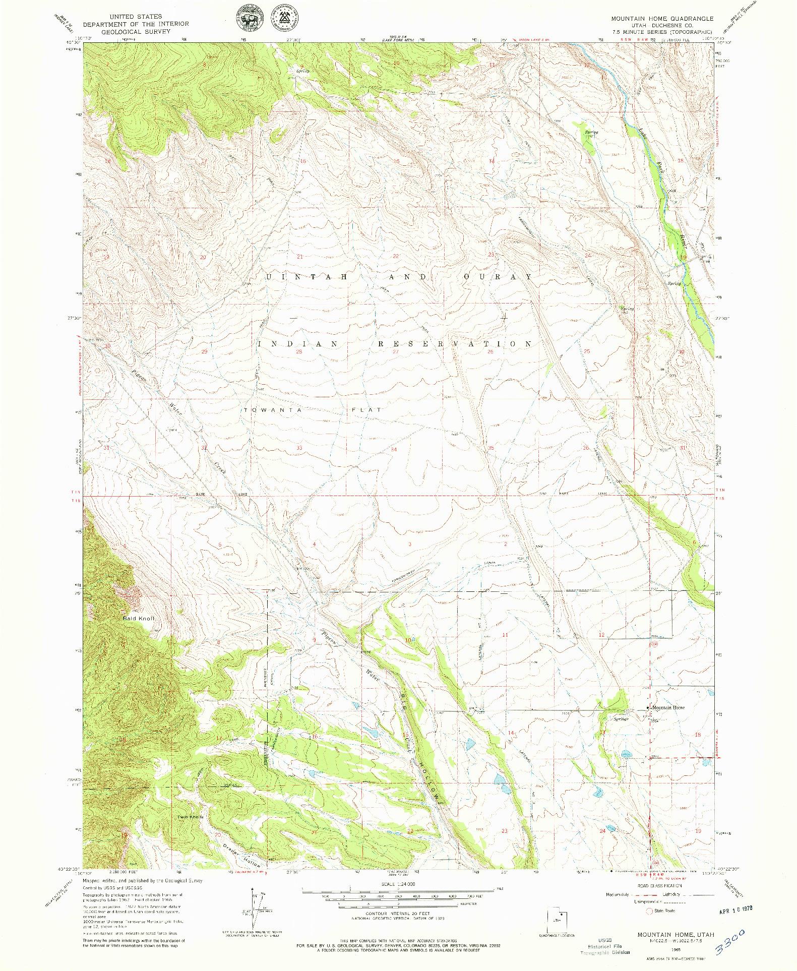 USGS 1:24000-SCALE QUADRANGLE FOR MOUNTAIN HOME, UT 1965