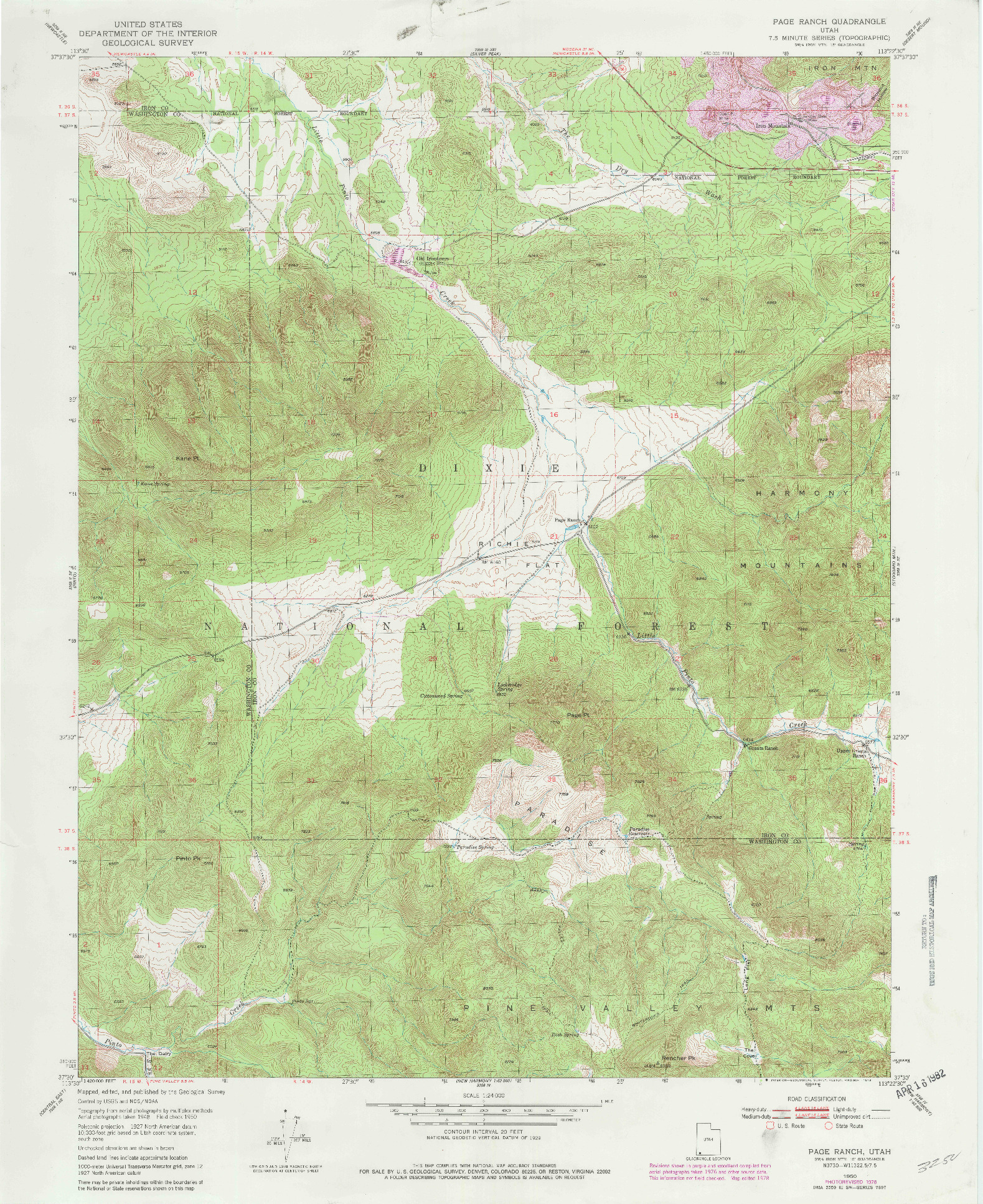 USGS 1:24000-SCALE QUADRANGLE FOR PAGE RANCH, UT 1950