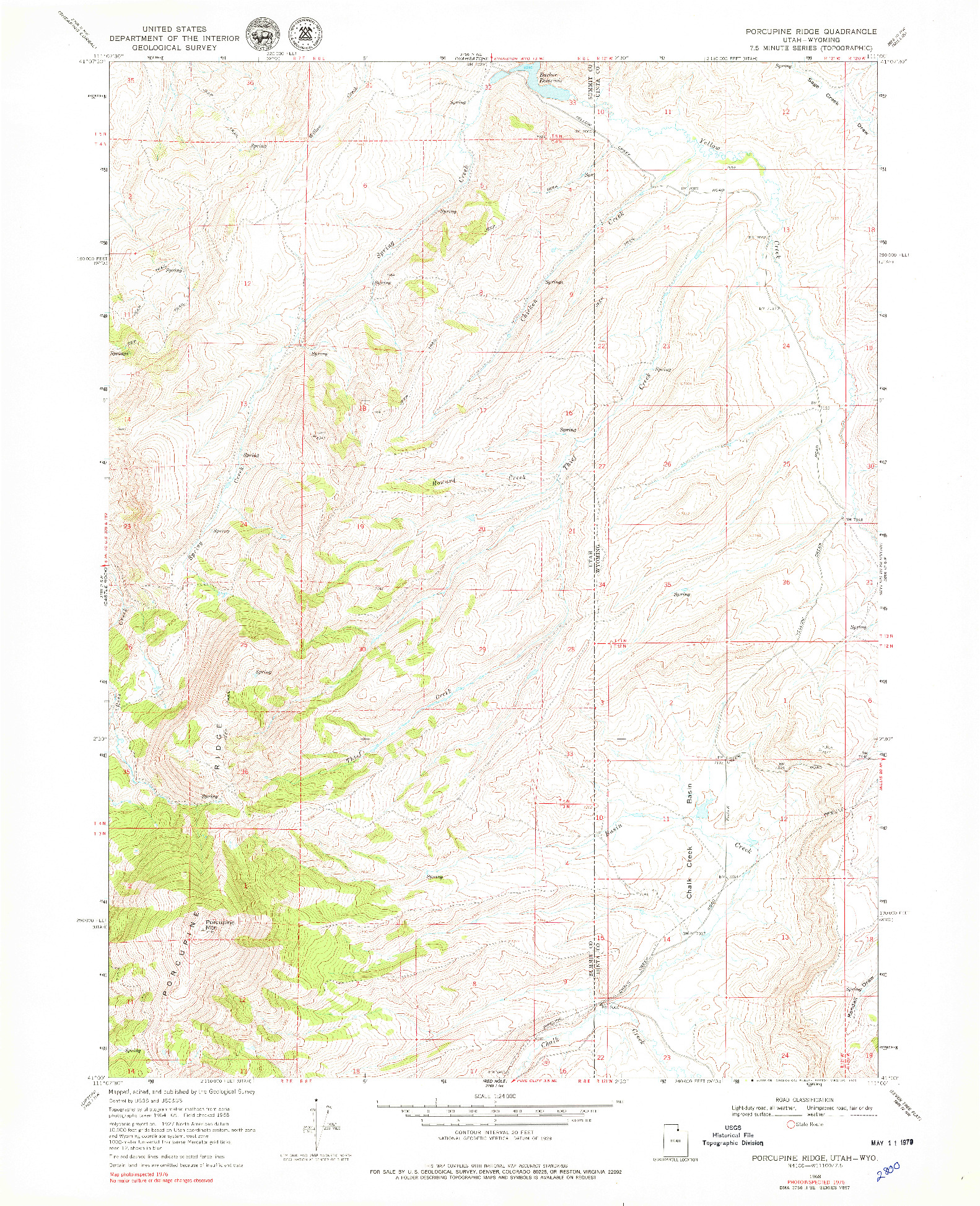 USGS 1:24000-SCALE QUADRANGLE FOR PORCUPINE RIDGE, UT 1968