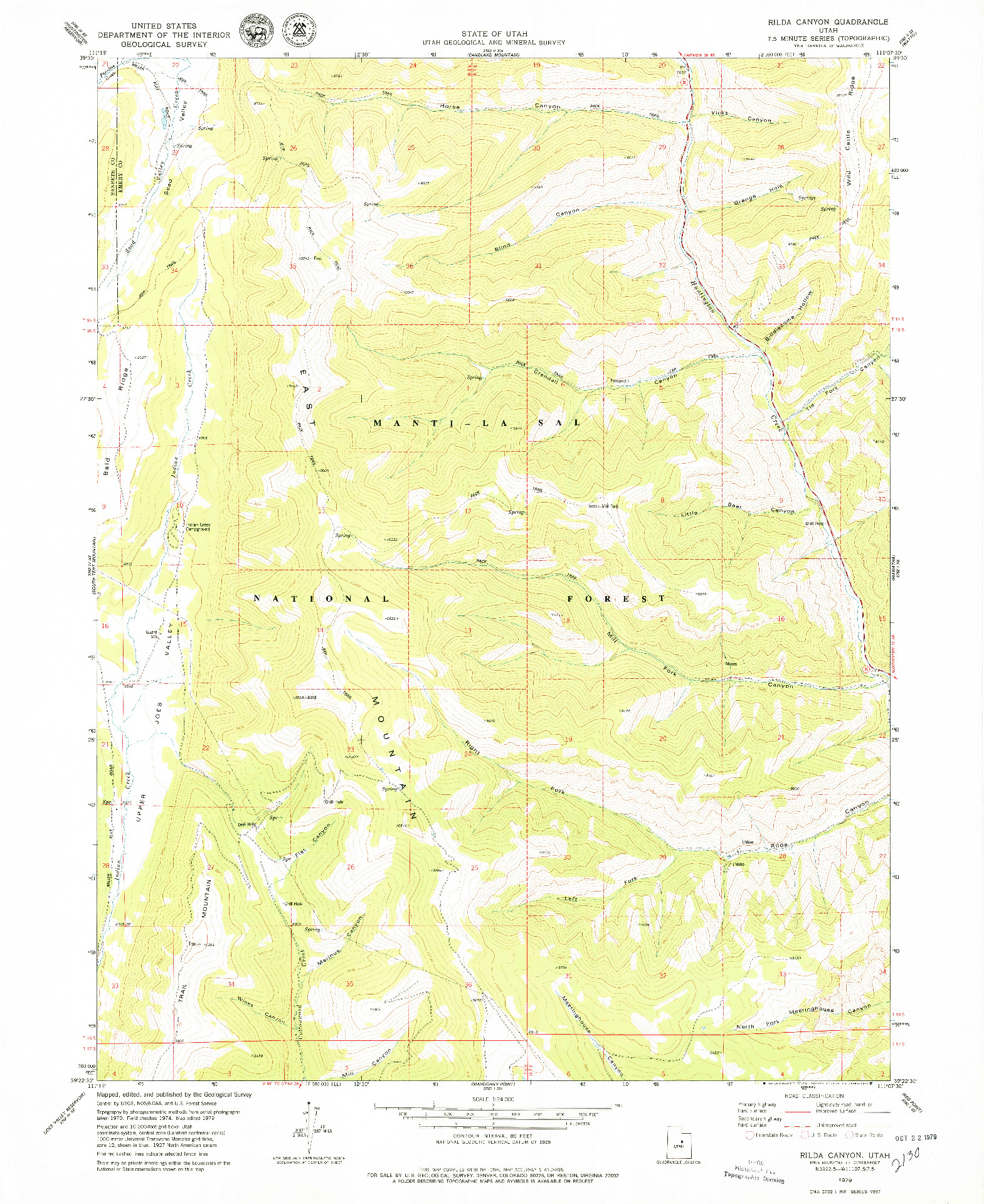 USGS 1:24000-SCALE QUADRANGLE FOR RILDA CANYON, UT 1979