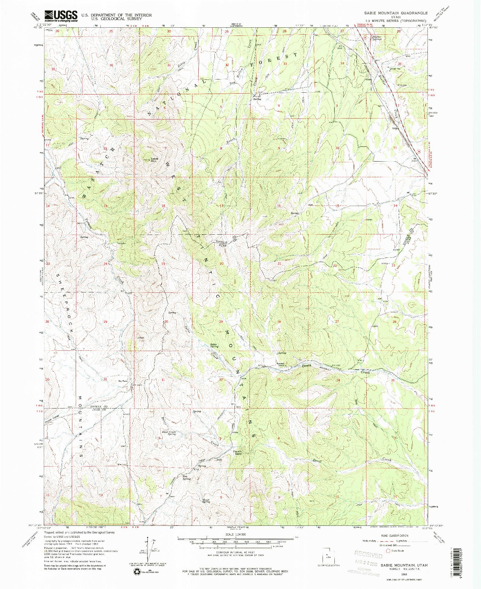 USGS 1:24000-SCALE QUADRANGLE FOR SABIE MOUNTAIN, UT 1963