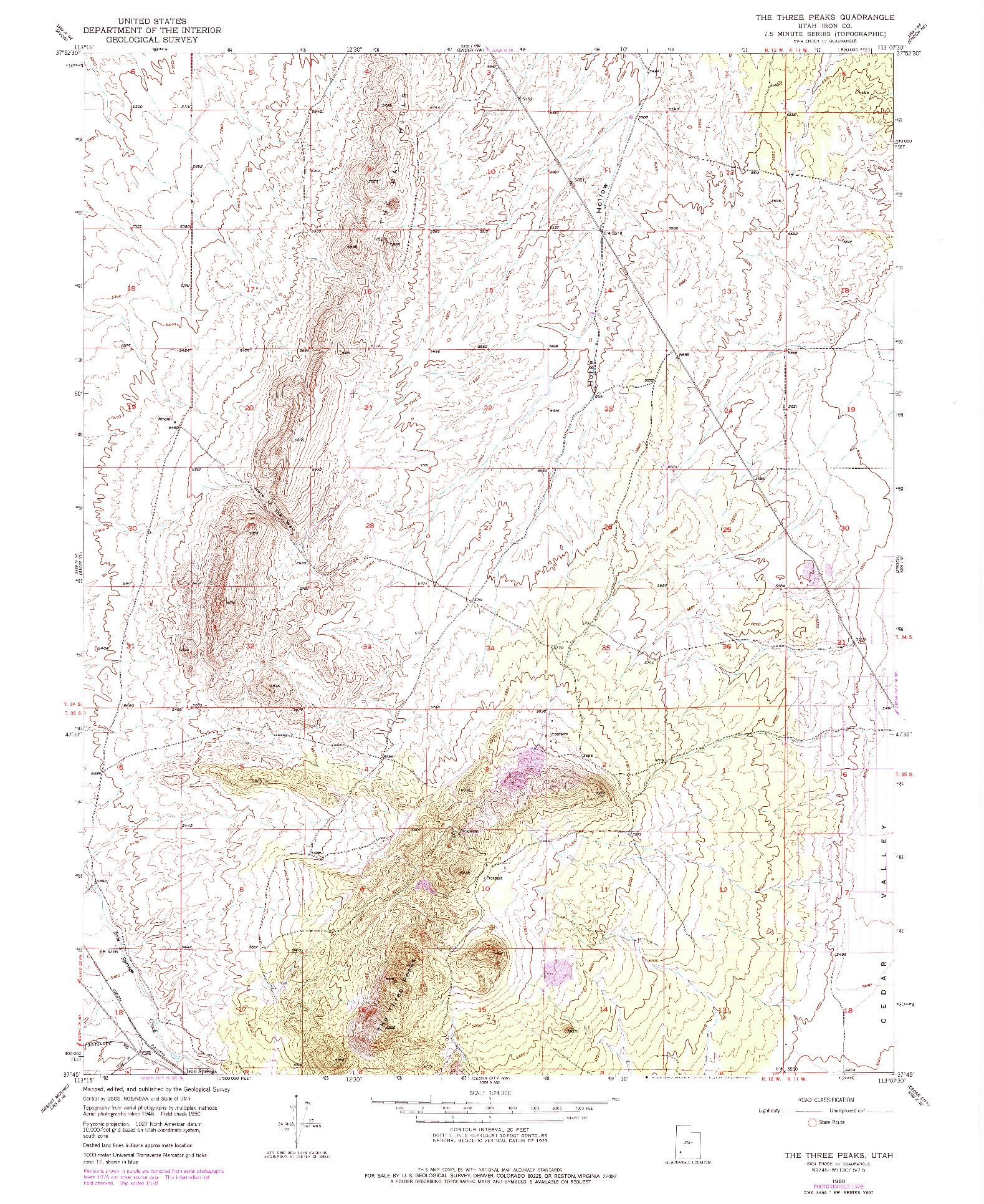 USGS 1:24000-SCALE QUADRANGLE FOR THE THREE PEAKS, UT 1950