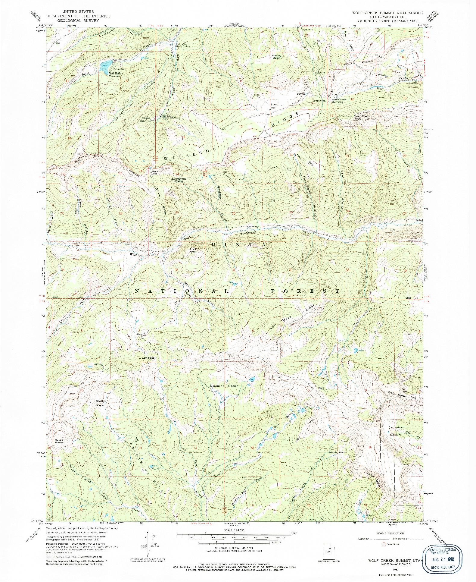 USGS 1:24000-SCALE QUADRANGLE FOR WOLF CREEK SUMMIT, UT 1967