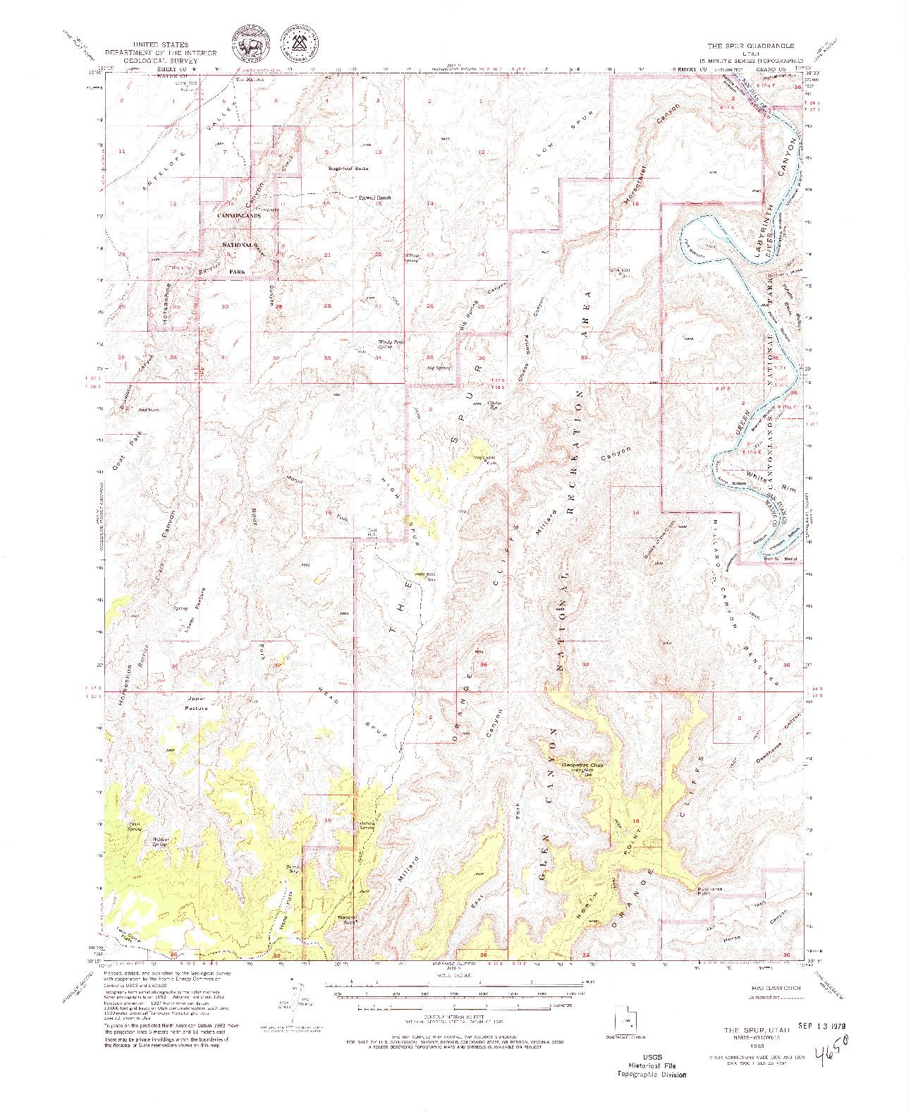 USGS 1:62500-SCALE QUADRANGLE FOR THE SPUR, UT 1953