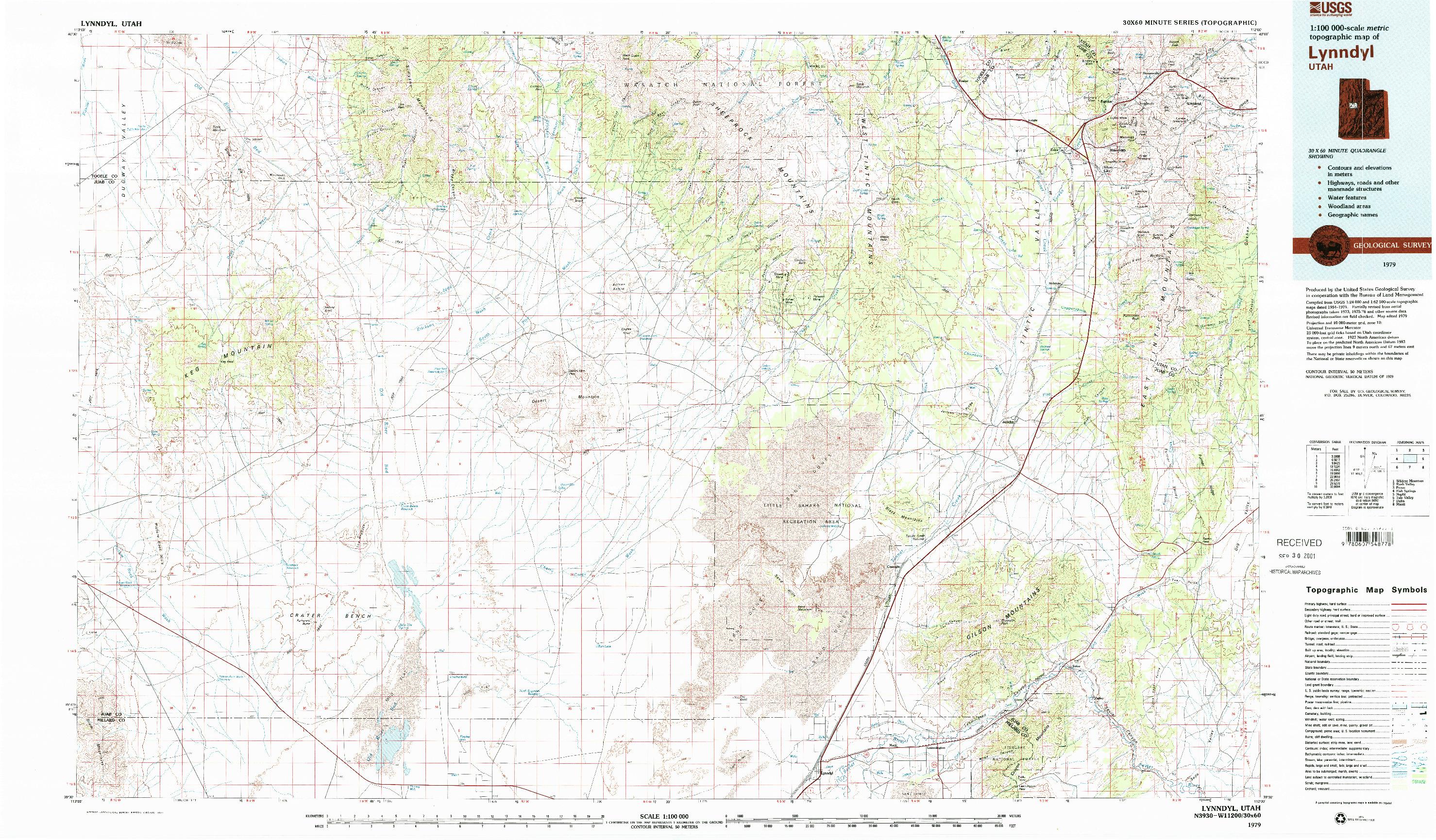 USGS 1:100000-SCALE QUADRANGLE FOR LYNNDYL, UT 1979