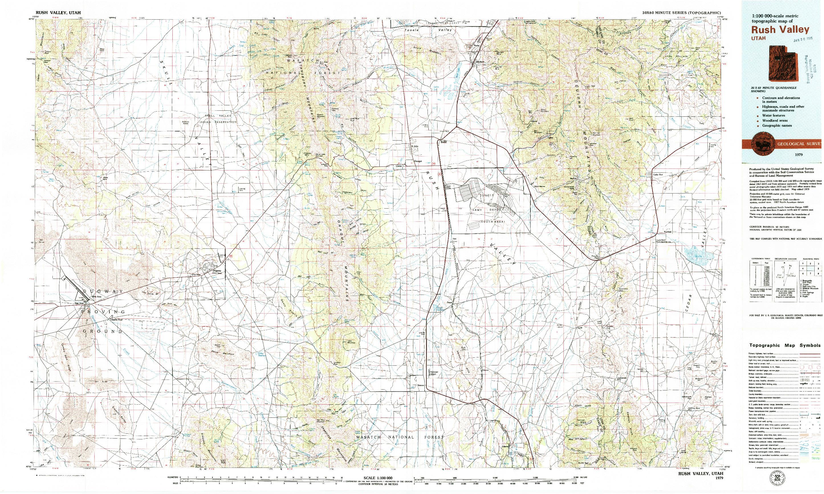 USGS 1:100000-SCALE QUADRANGLE FOR RUSH VALLEY, UT 1979
