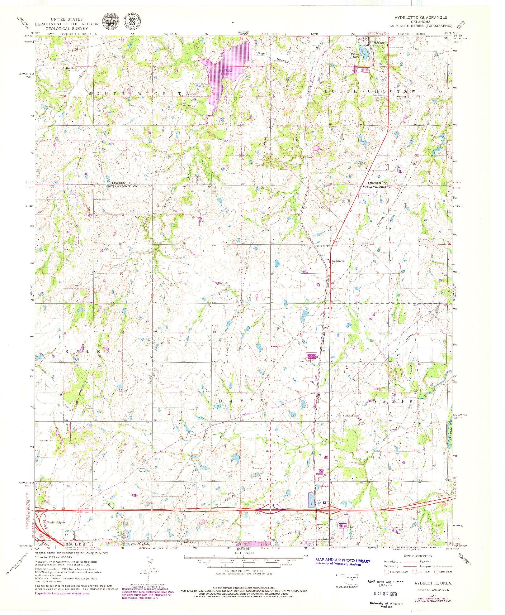 USGS 1:24000-SCALE QUADRANGLE FOR AYDELOTTE, OK 1967