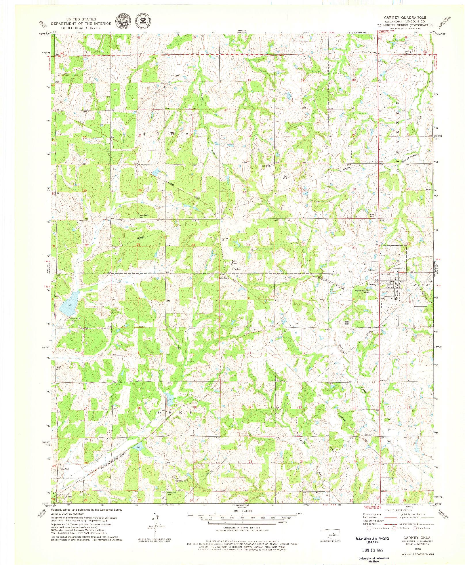 USGS 1:24000-SCALE QUADRANGLE FOR CARNEY, OK 1978