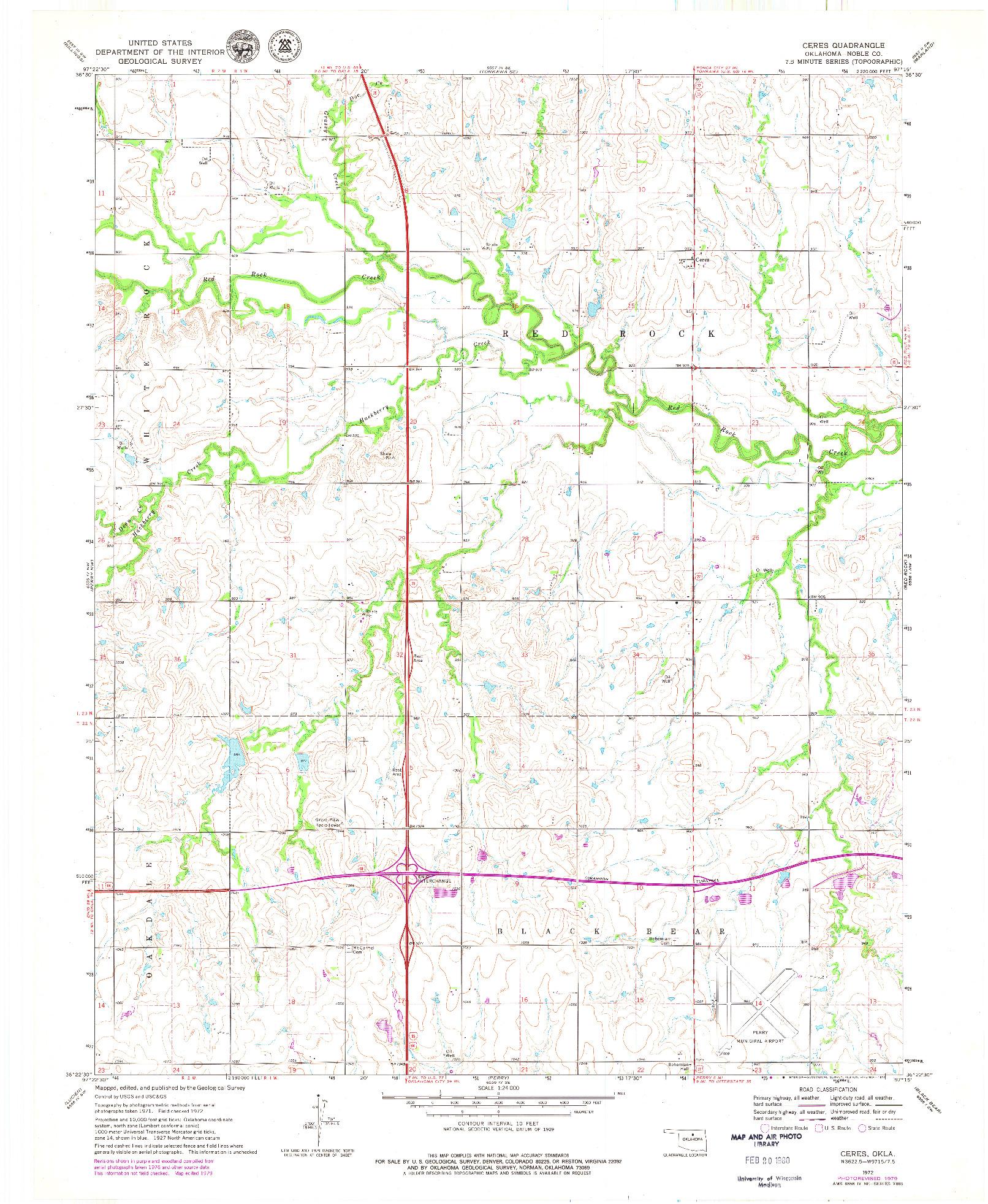 USGS 1:24000-SCALE QUADRANGLE FOR CERES, OK 1972