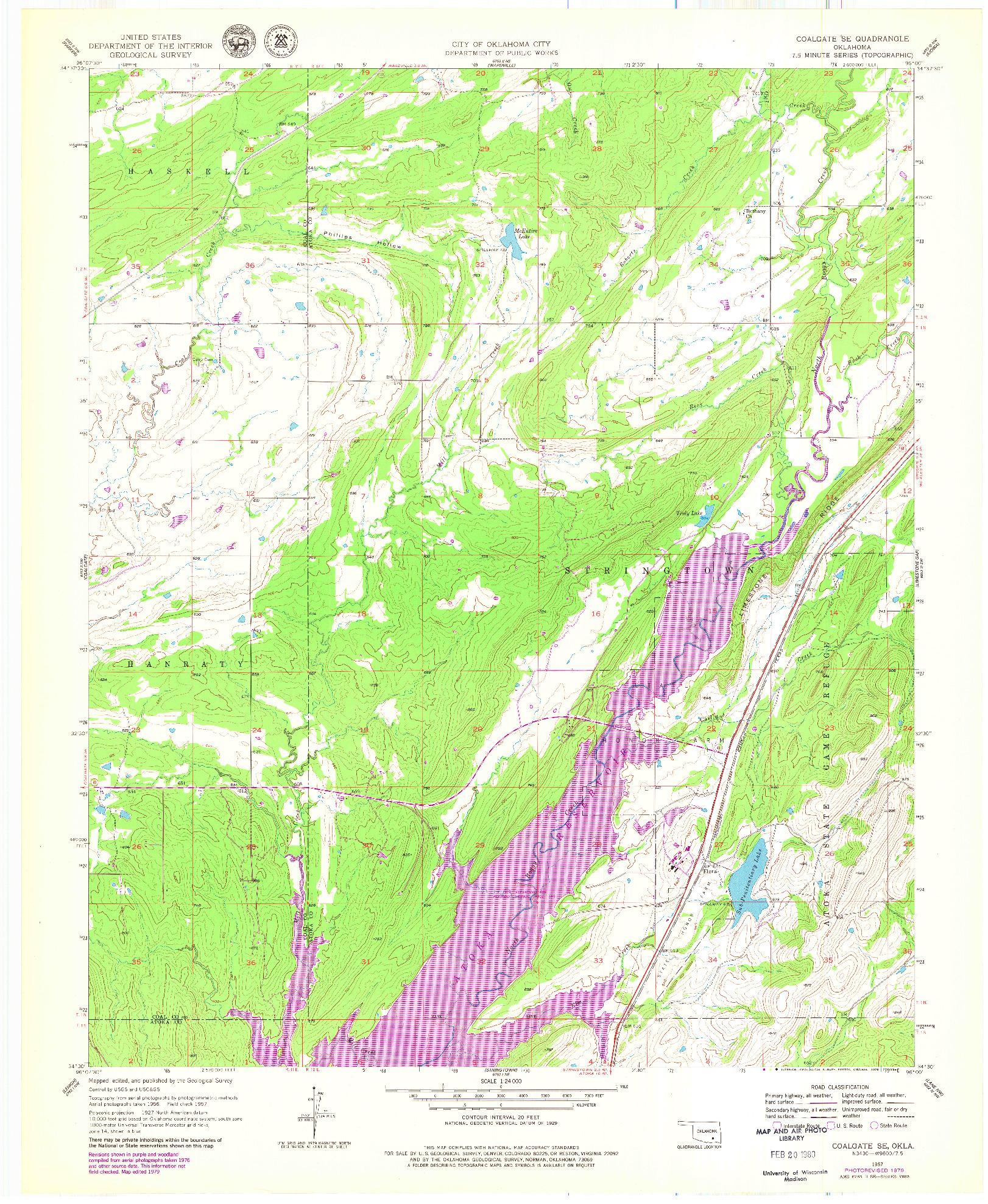 USGS 1:24000-SCALE QUADRANGLE FOR COALGATE SE, OK 1957