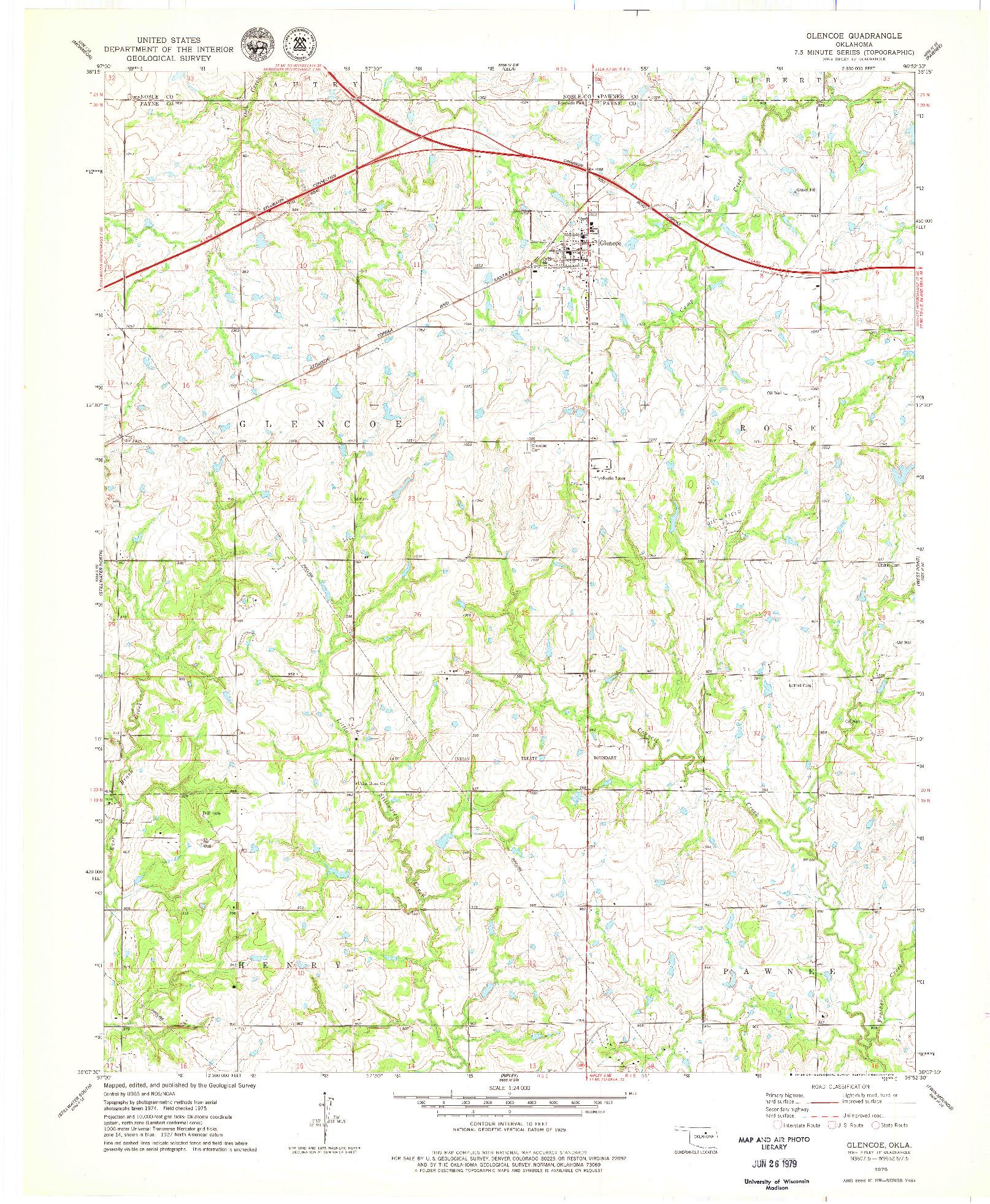 USGS 1:24000-SCALE QUADRANGLE FOR GLENCOE, OK 1975