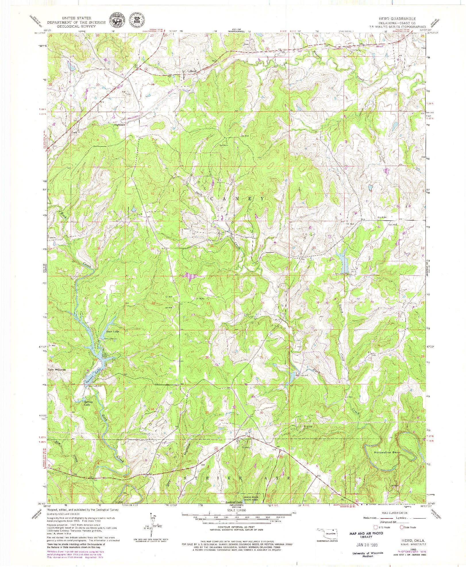 USGS 1:24000-SCALE QUADRANGLE FOR HERD, OK 1960