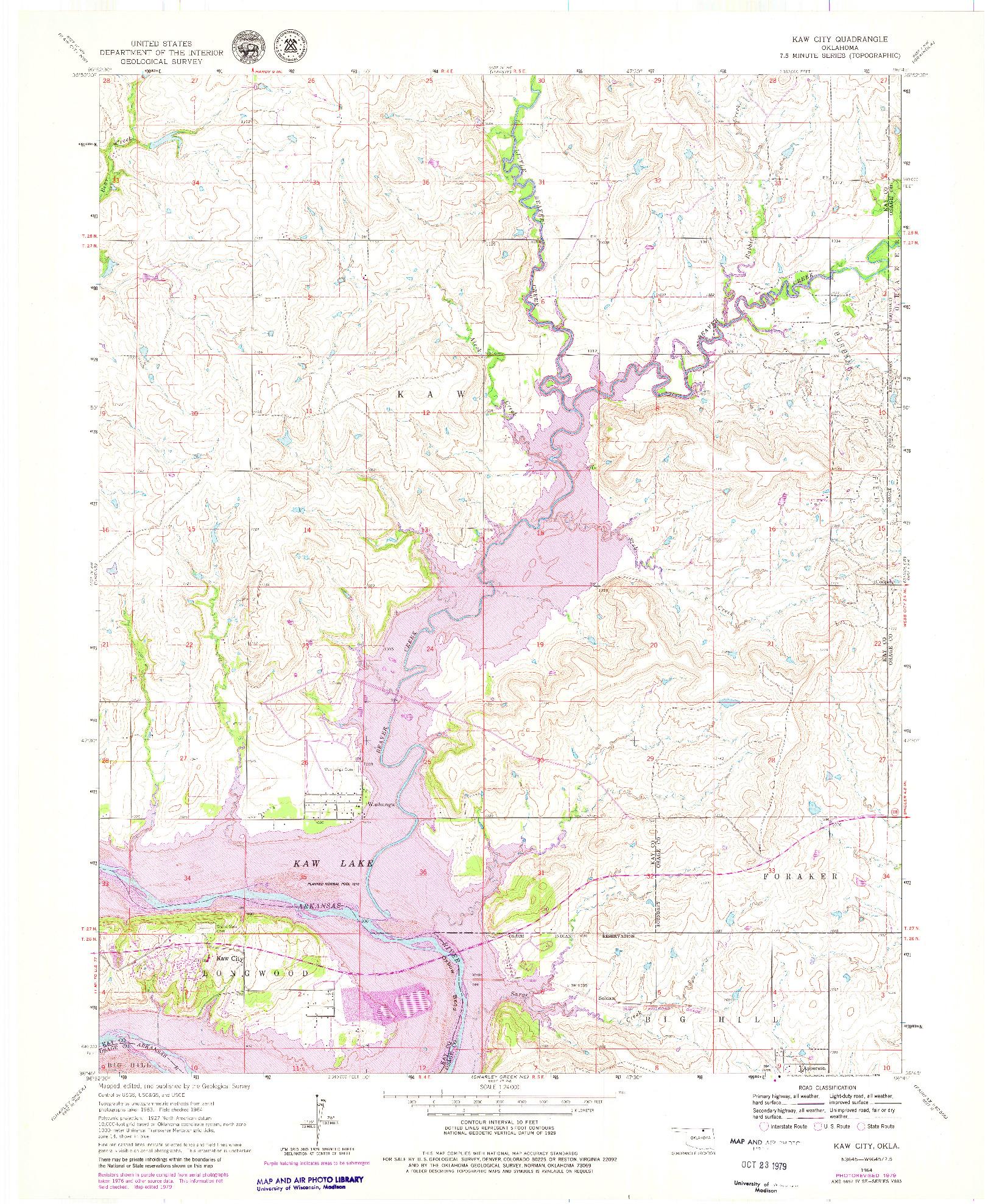 USGS 1:24000-SCALE QUADRANGLE FOR KAW CITY, OK 1964