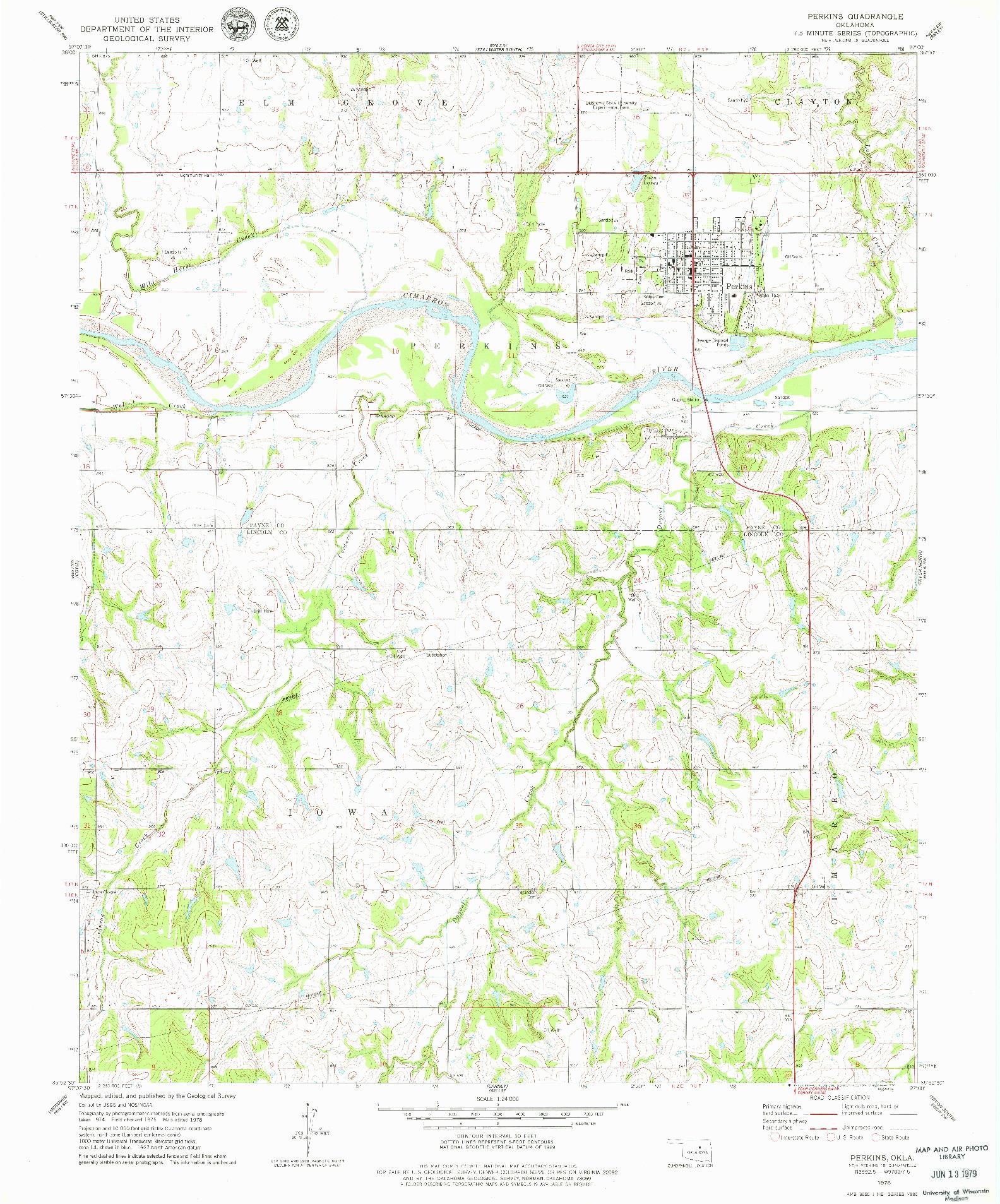 USGS 1:24000-SCALE QUADRANGLE FOR PERKINS, OK 1978