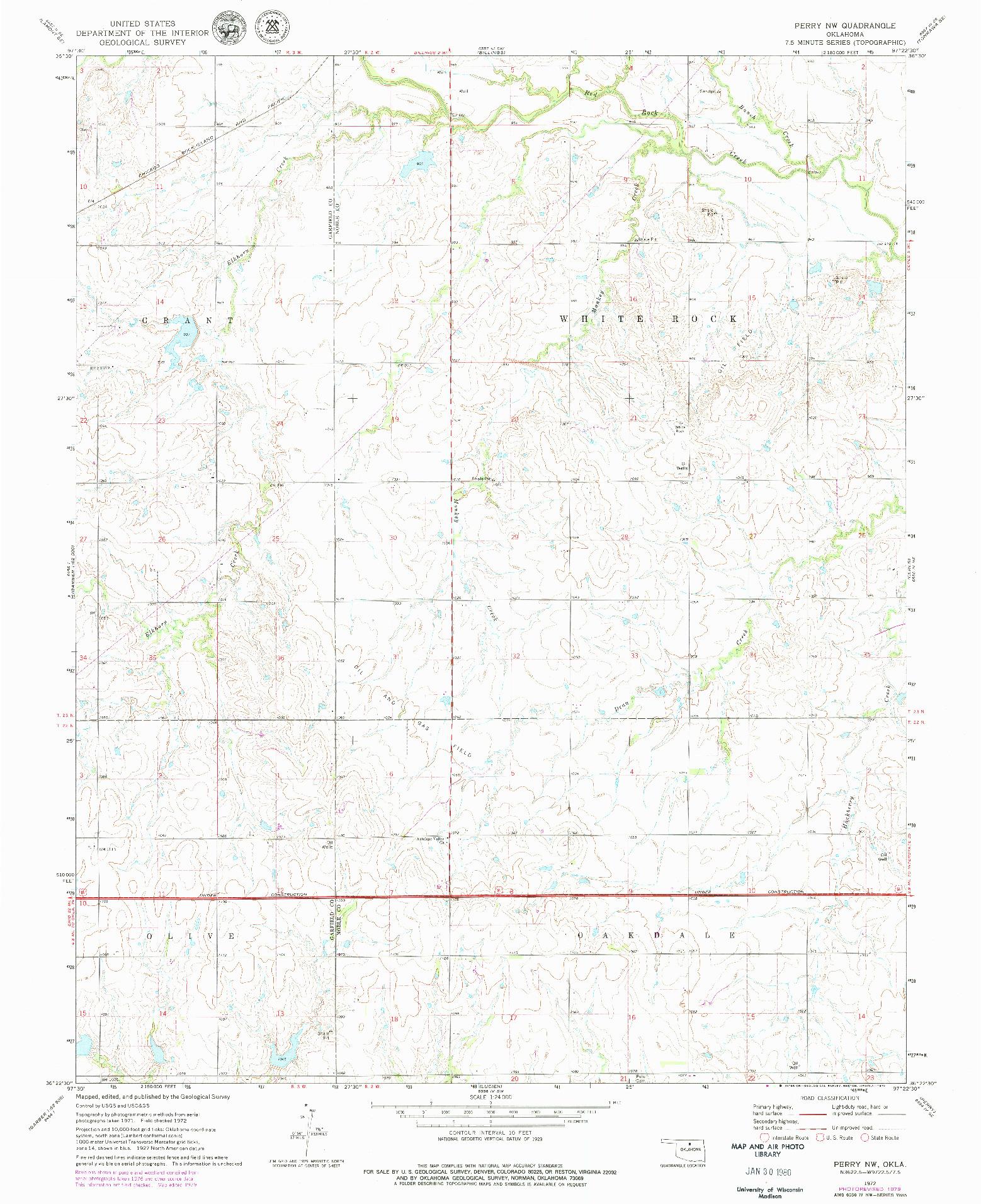 USGS 1:24000-SCALE QUADRANGLE FOR PERRY NW, OK 1972