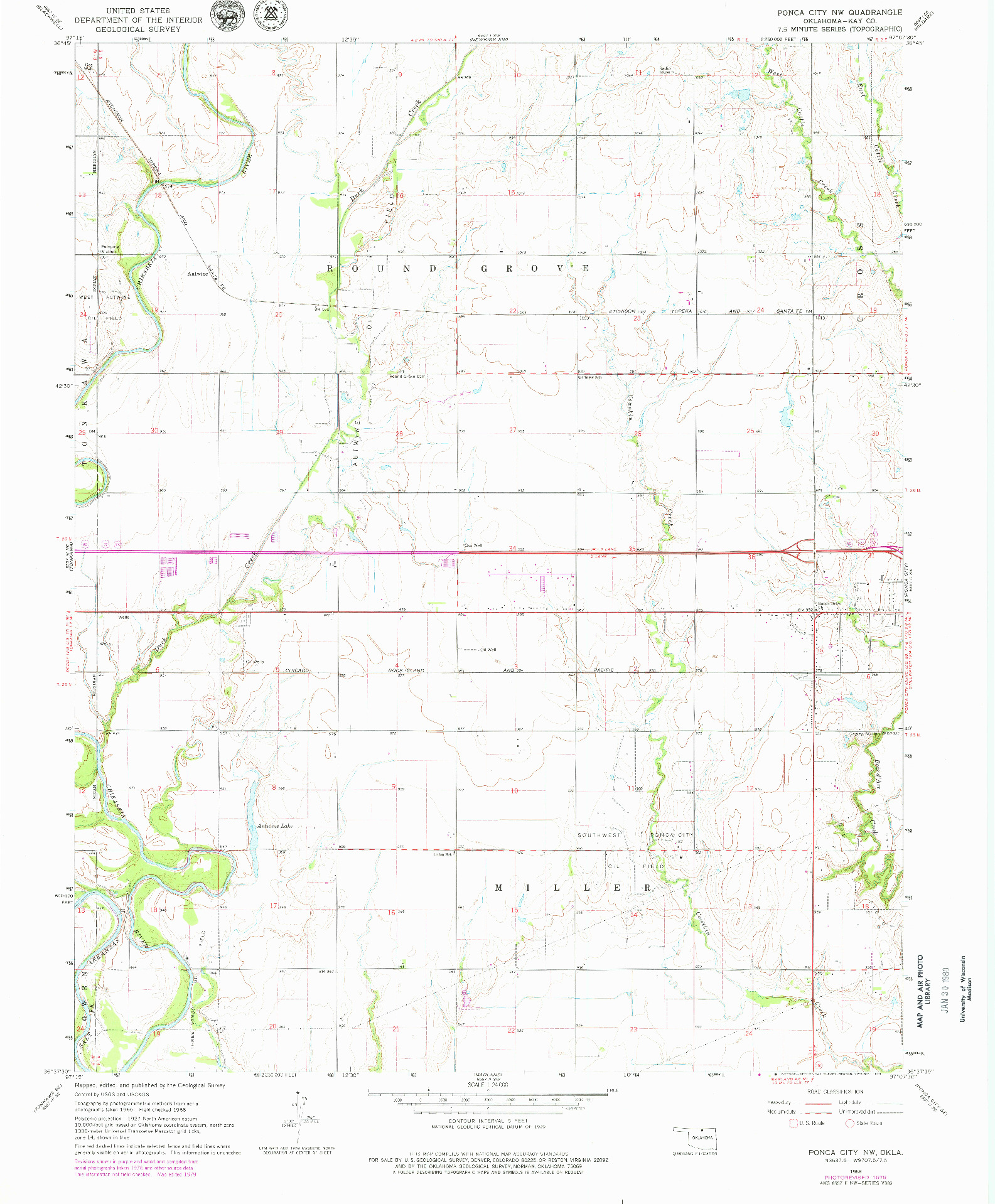 USGS 1:24000-SCALE QUADRANGLE FOR PONCA CITY NW, OK 1968