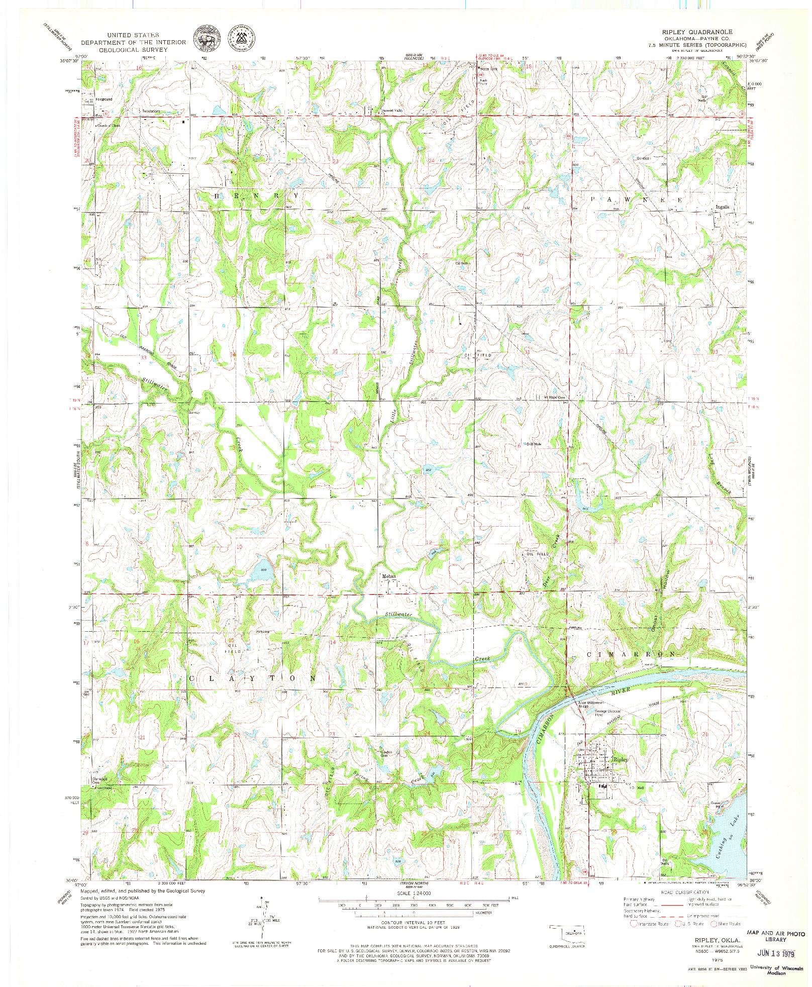 USGS 1:24000-SCALE QUADRANGLE FOR RIPLEY, OK 1975