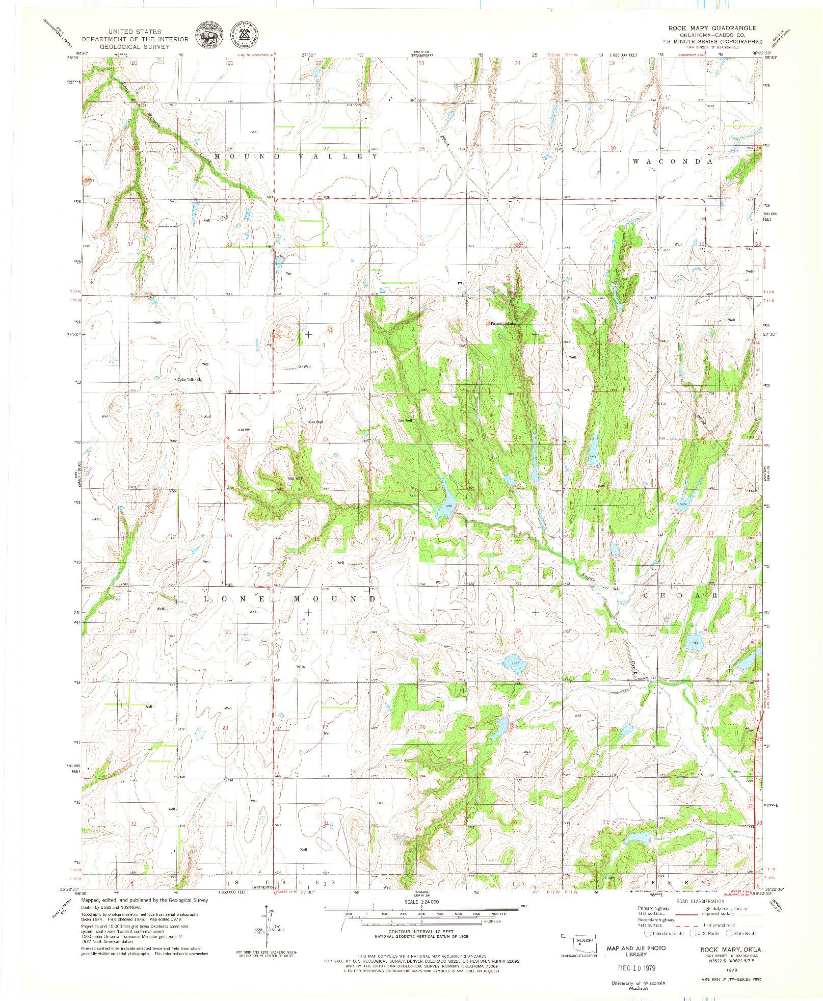 USGS 1:24000-SCALE QUADRANGLE FOR ROCK MARY, OK 1979