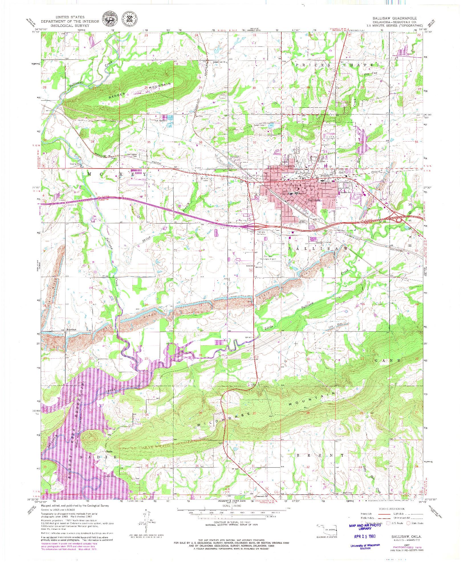 USGS 1:24000-SCALE QUADRANGLE FOR SALLISAW, OK 1967