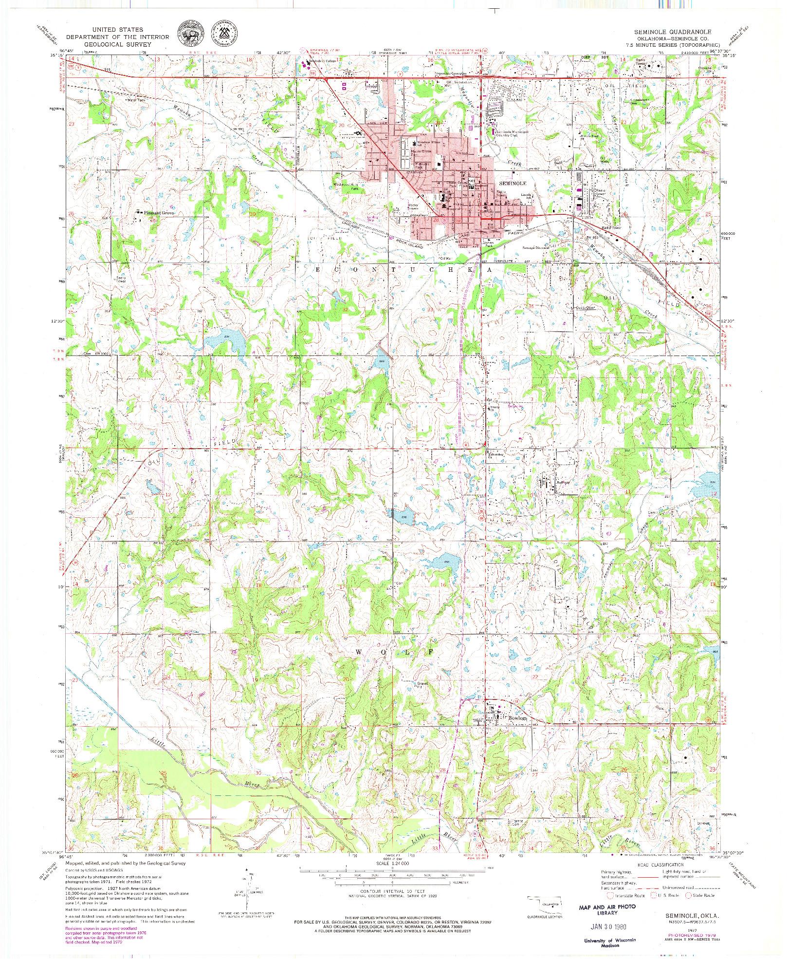 USGS 1:24000-SCALE QUADRANGLE FOR SEMINOLE, OK 1972