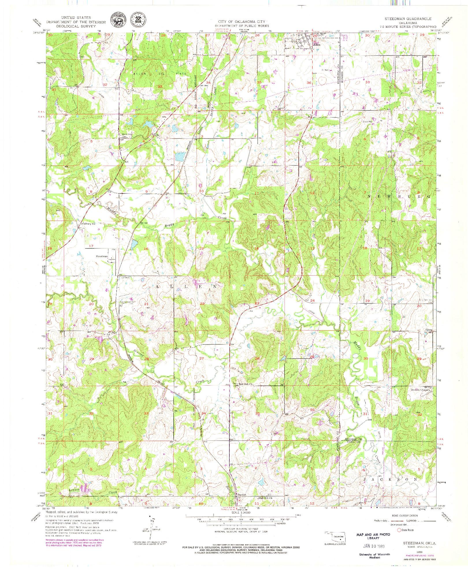 USGS 1:24000-SCALE QUADRANGLE FOR STEEDMAN, OK 1958