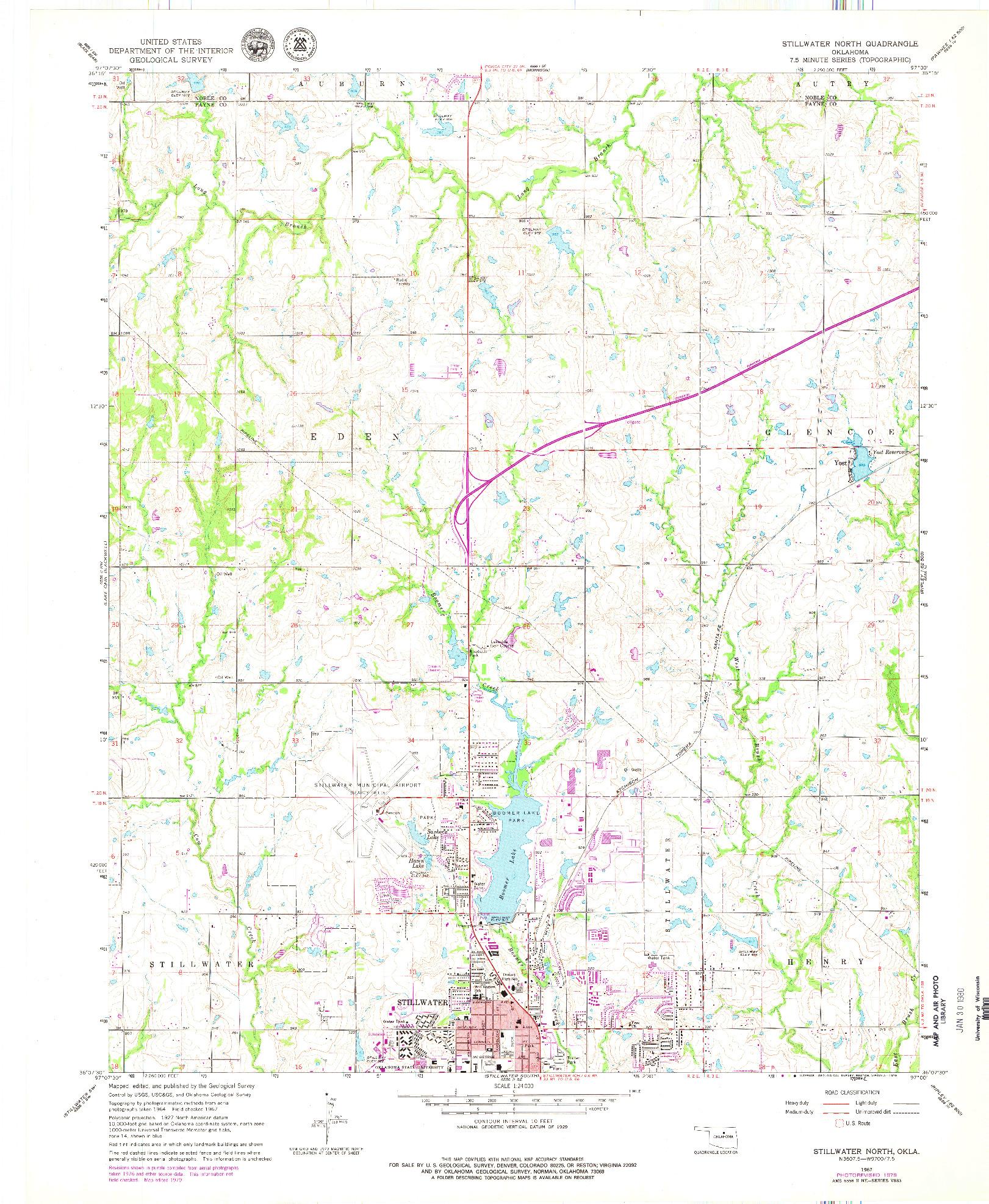 USGS 1:24000-SCALE QUADRANGLE FOR STILLWATER NORTH, OK 1967