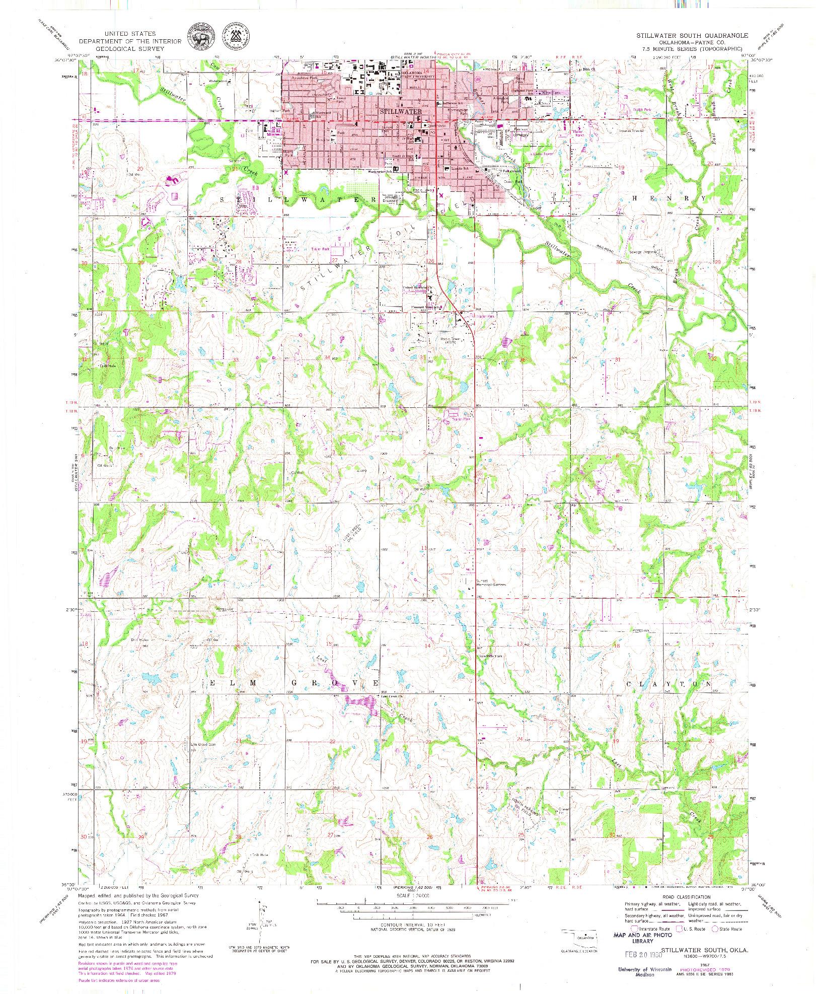 USGS 1:24000-SCALE QUADRANGLE FOR STILLWATER SOUTH, OK 1967