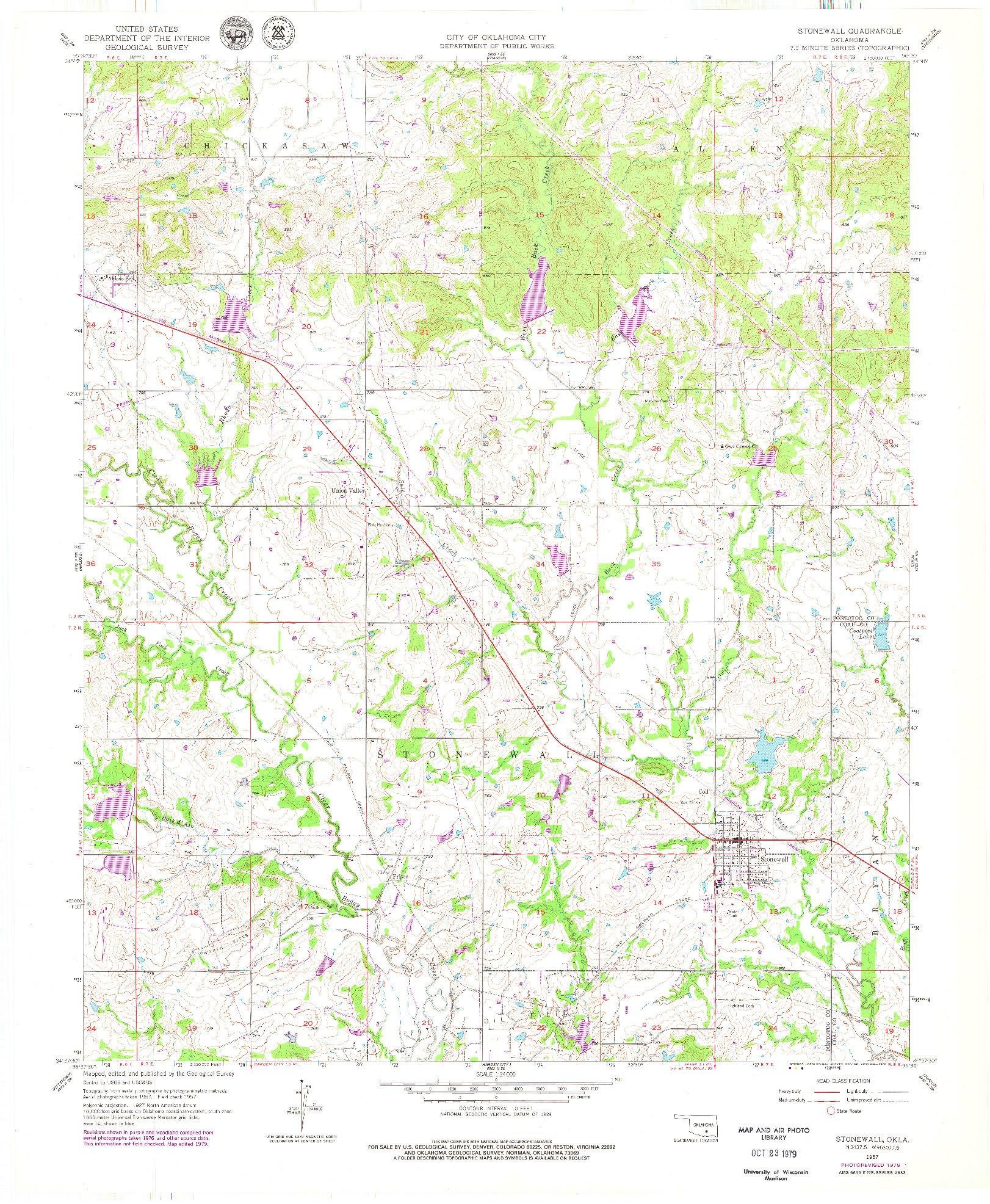 USGS 1:24000-SCALE QUADRANGLE FOR STONEWALL, OK 1957