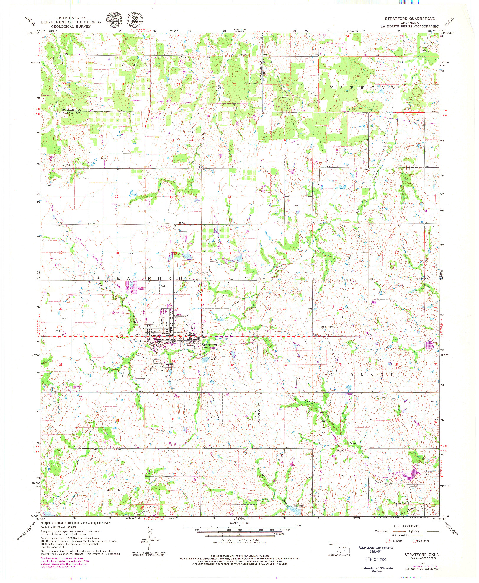 USGS 1:24000-SCALE QUADRANGLE FOR STRATFORD, OK 1967