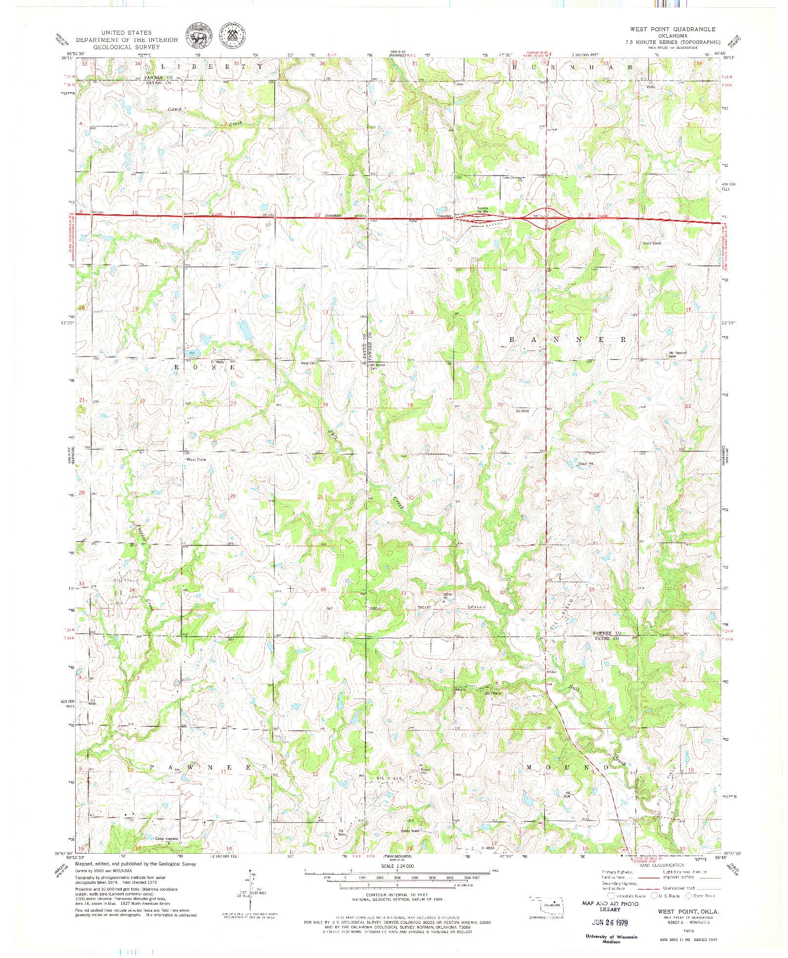USGS 1:24000-SCALE QUADRANGLE FOR WEST POINT, OK 1975