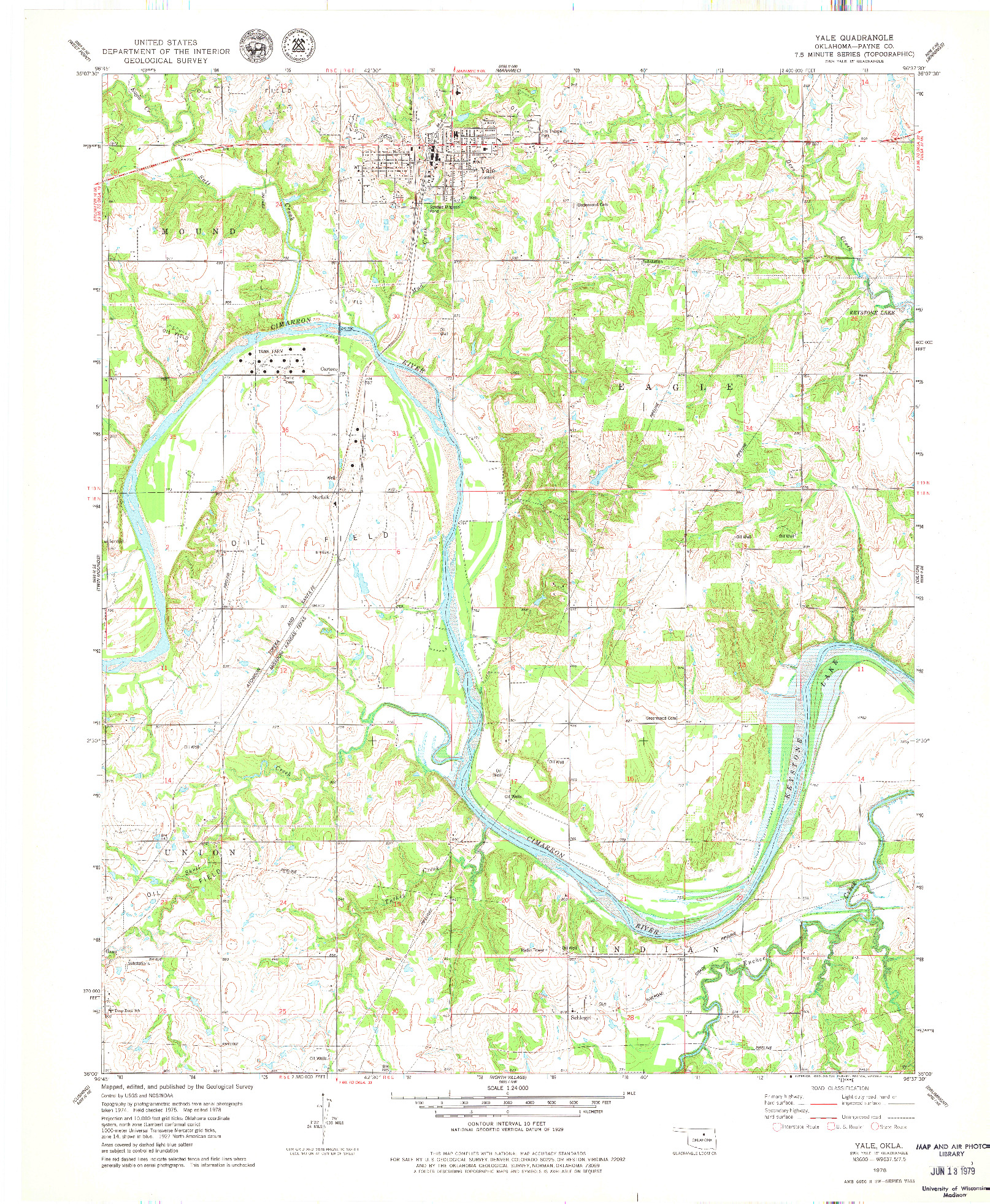 USGS 1:24000-SCALE QUADRANGLE FOR YALE, OK 1978