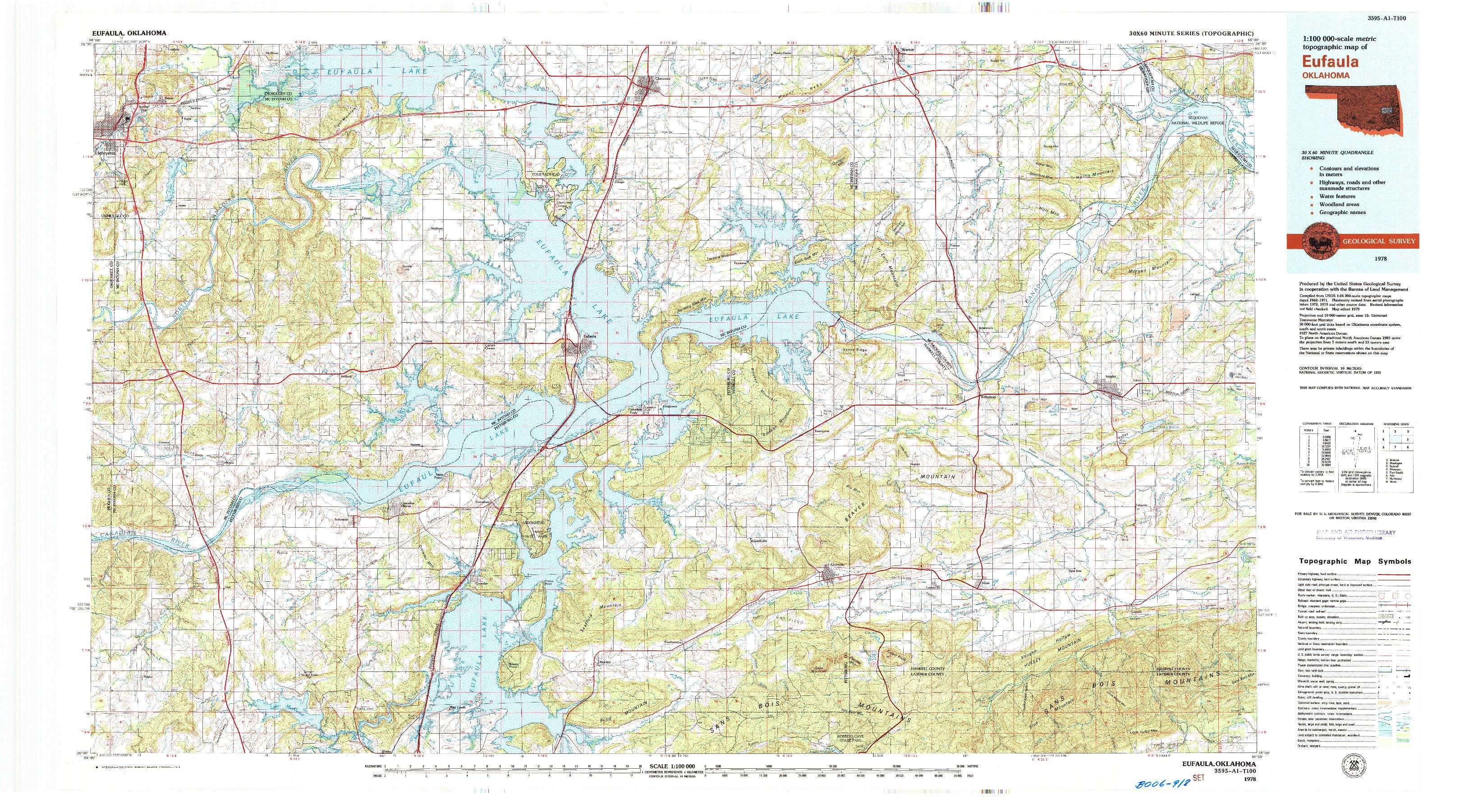 USGS 1:100000-SCALE QUADRANGLE FOR EUFAULA, OK 1978