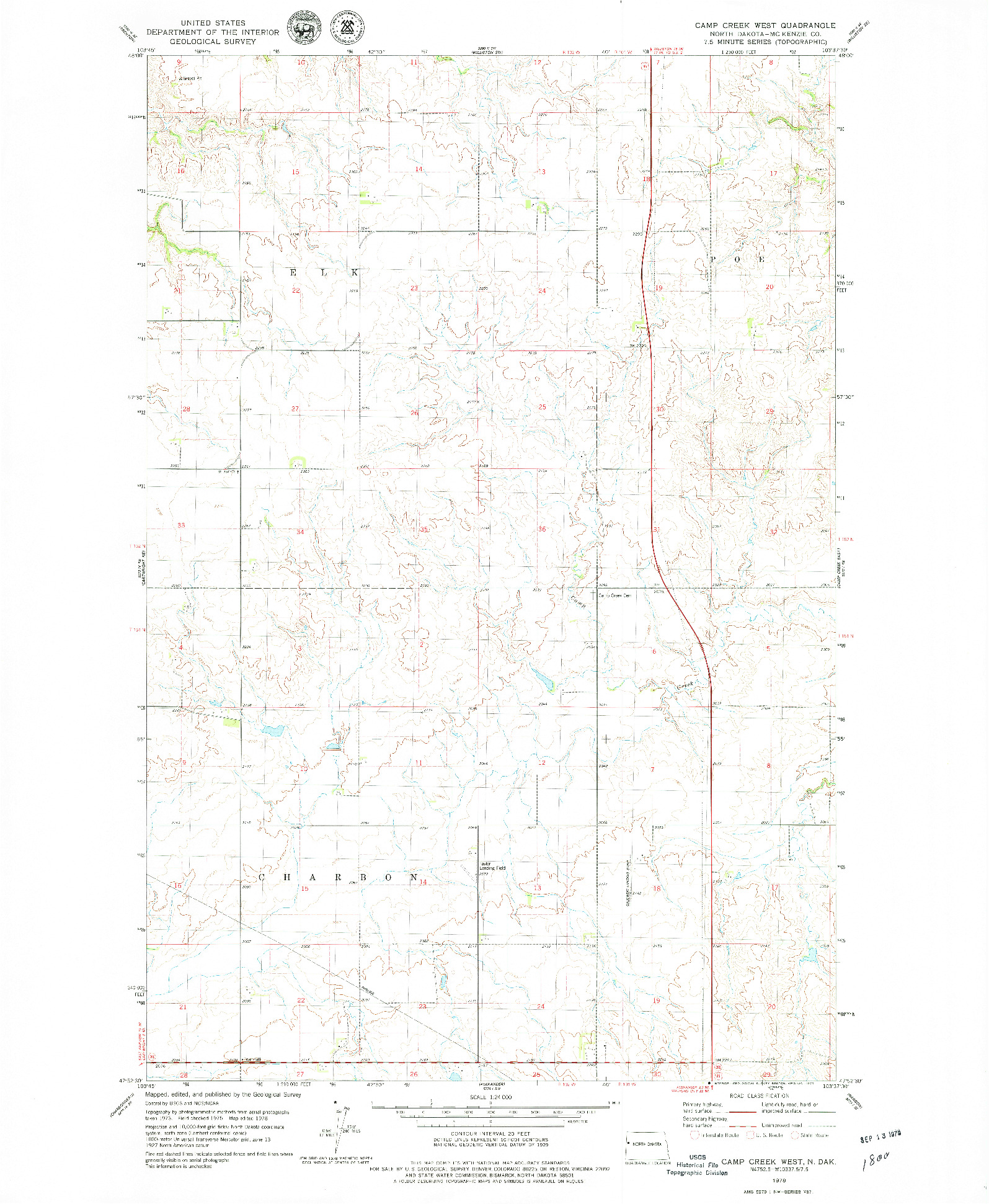 USGS 1:24000-SCALE QUADRANGLE FOR CAMP CREEK WEST, ND 1978