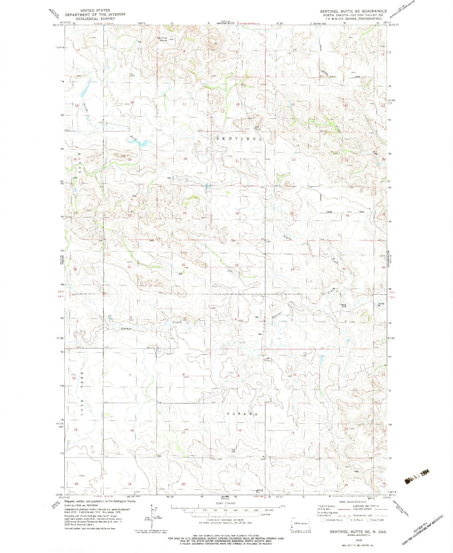 USGS 1:24000-SCALE QUADRANGLE FOR SENTINEL BUTTE SE, ND 1979