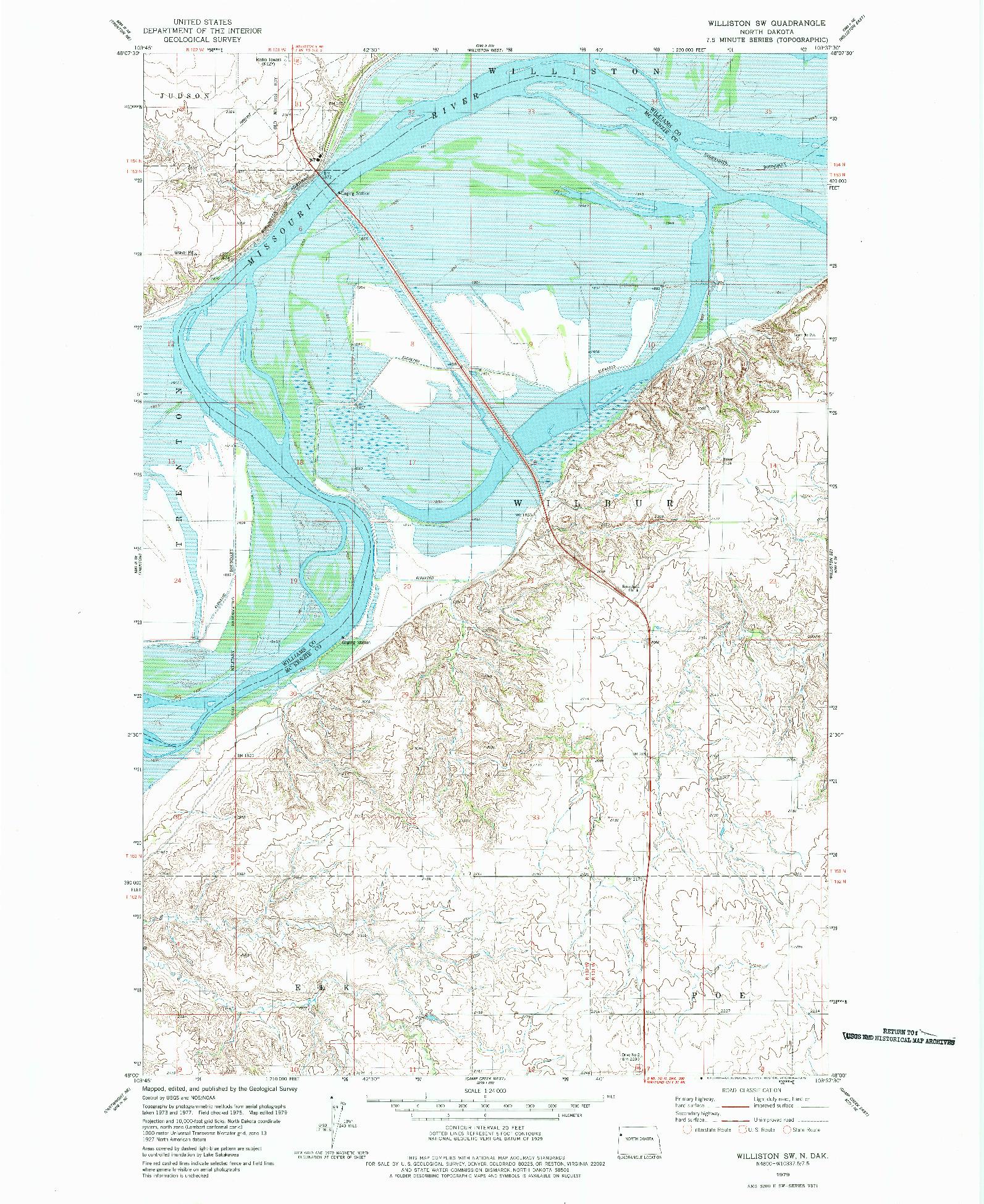 USGS 1:24000-SCALE QUADRANGLE FOR WILLISTON SW, ND 1979