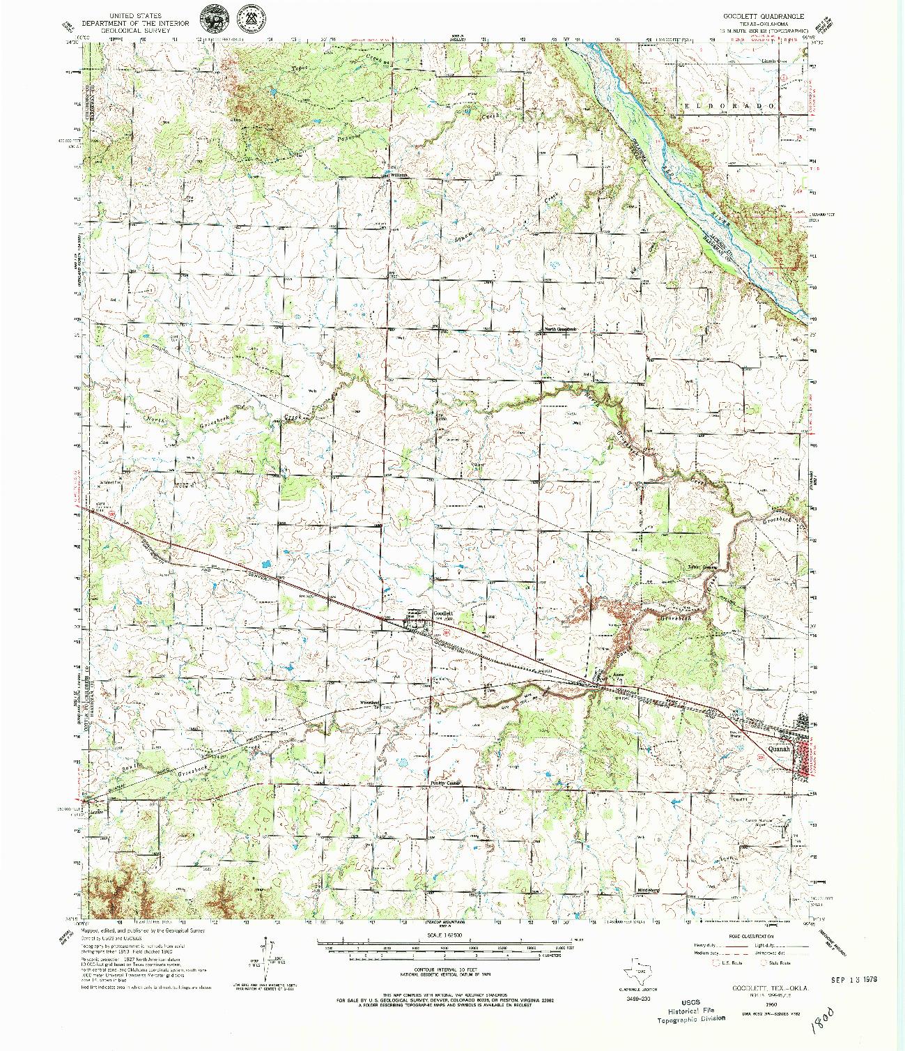 USGS 1:62500-SCALE QUADRANGLE FOR GOODLETT, TX 1960